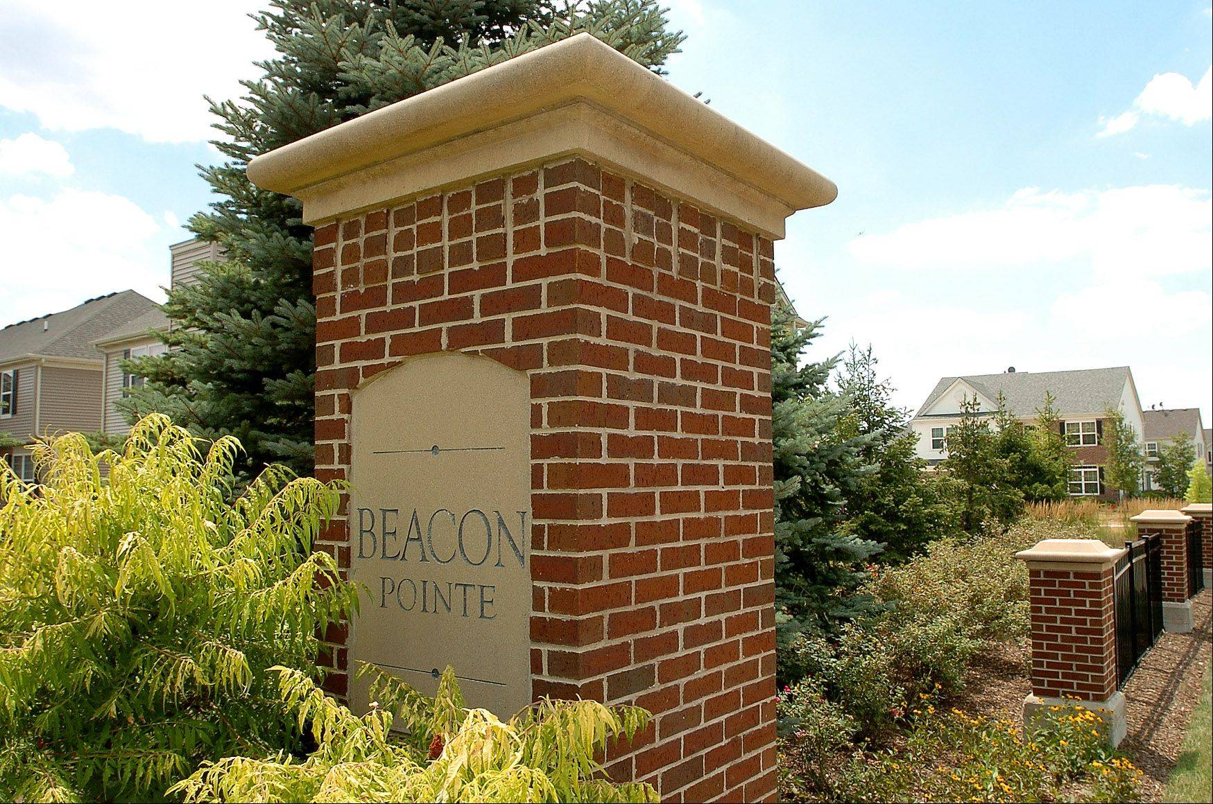 The entry monument sets the tone for Beacon Pointe.