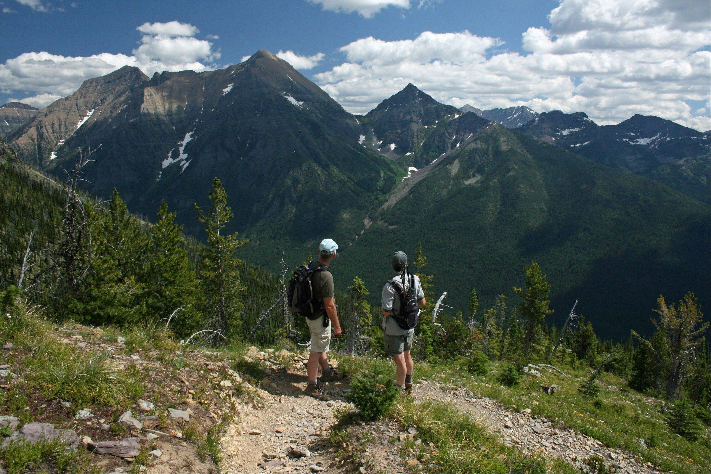 Hikers pause on the trail to Numa Ridge in the North Fork, a remote section of the park.