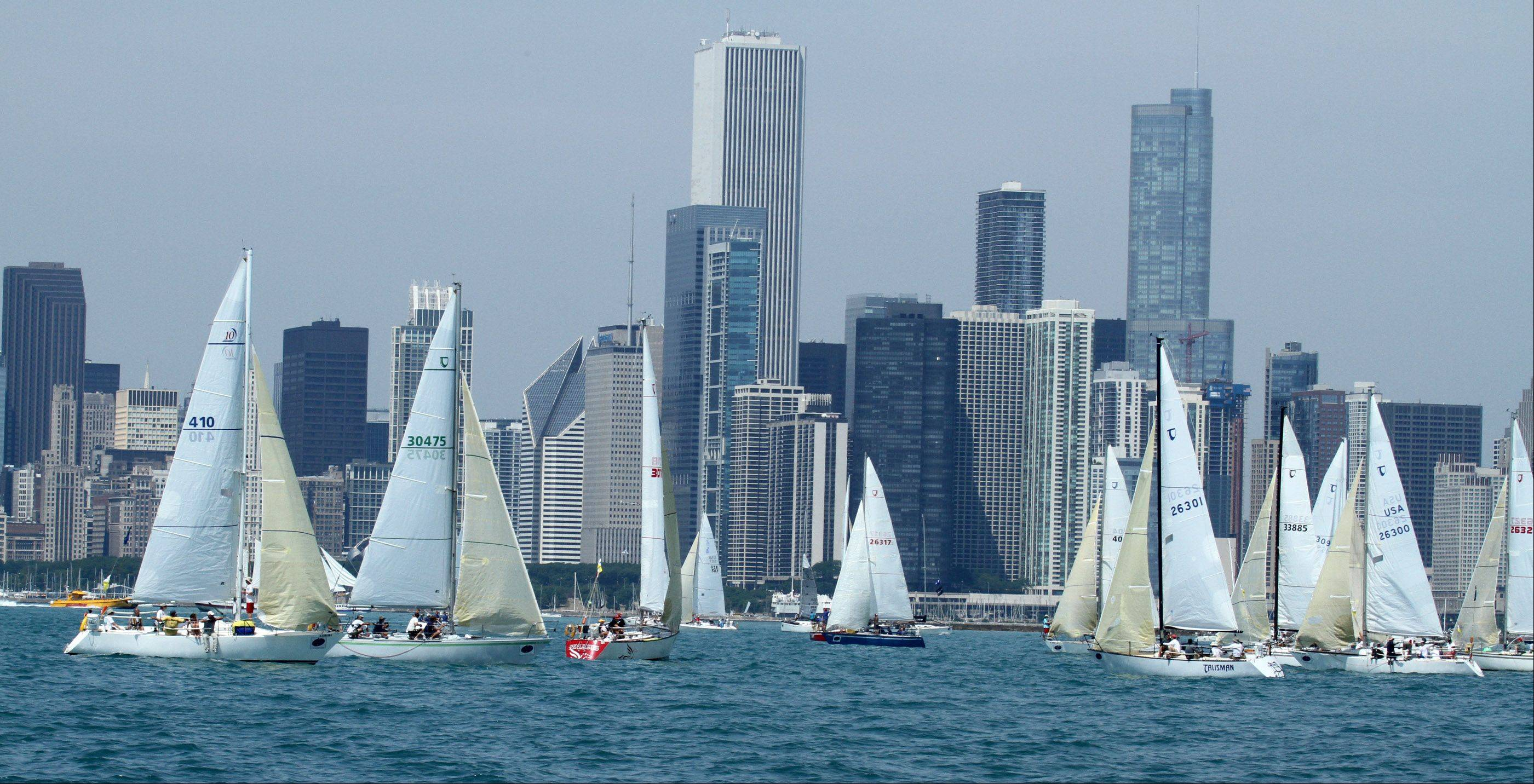 The start of the 104th Chicago Yacht Club Race to Mackinac on Lake Michigan in Chicago on Saturday, July 21.