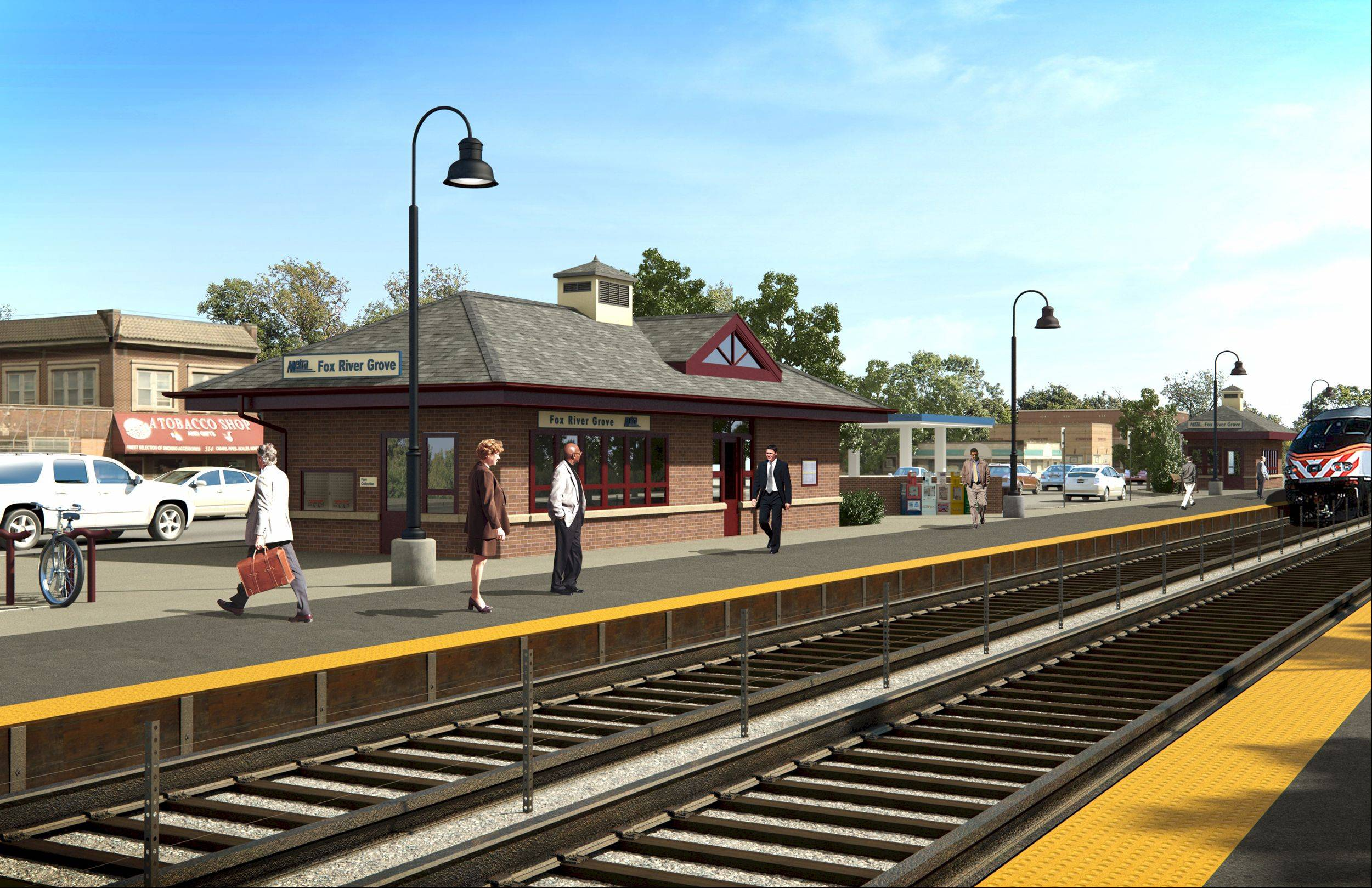 An artist's rendering shows how the new Metra station in Fox River Grove will look. Construction on the station itself is slated to begin around Sept. 1. Work has already started on extending the platforms.
