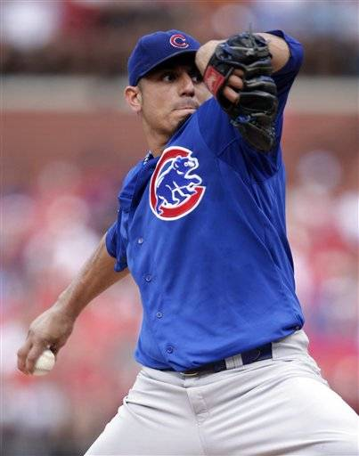 Cubs starter Matt Garza was taken out after working three scoreless innings against the St. Louis Cardinals apparently due to an injury that wasn't obvious, prompting speculation that he had been traded.