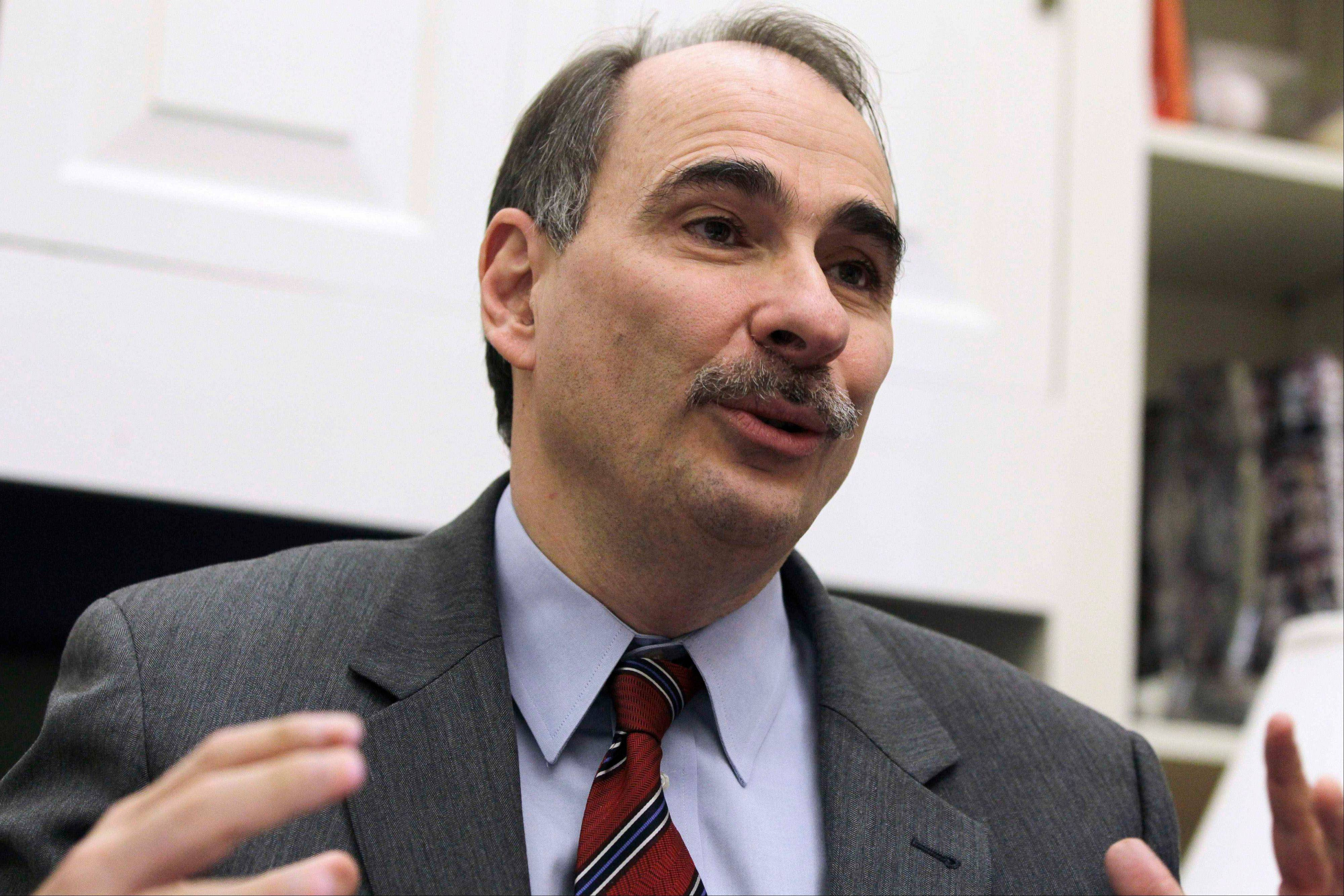 This Jan. 28, 2011, file photo shows David Axelrod, outgoing senior White House adviser to President Barack Obama, during an interview with the Associated Press at the White House. Axelrod, who is a former political reporter for The Chicago Tribune, has known the president since the early 1990s and was a driving force behind Obama's message of change during the 2008 campaign. He is a calming influence on the Obama 2012 campaign team and has helped focus on middle-class voters.