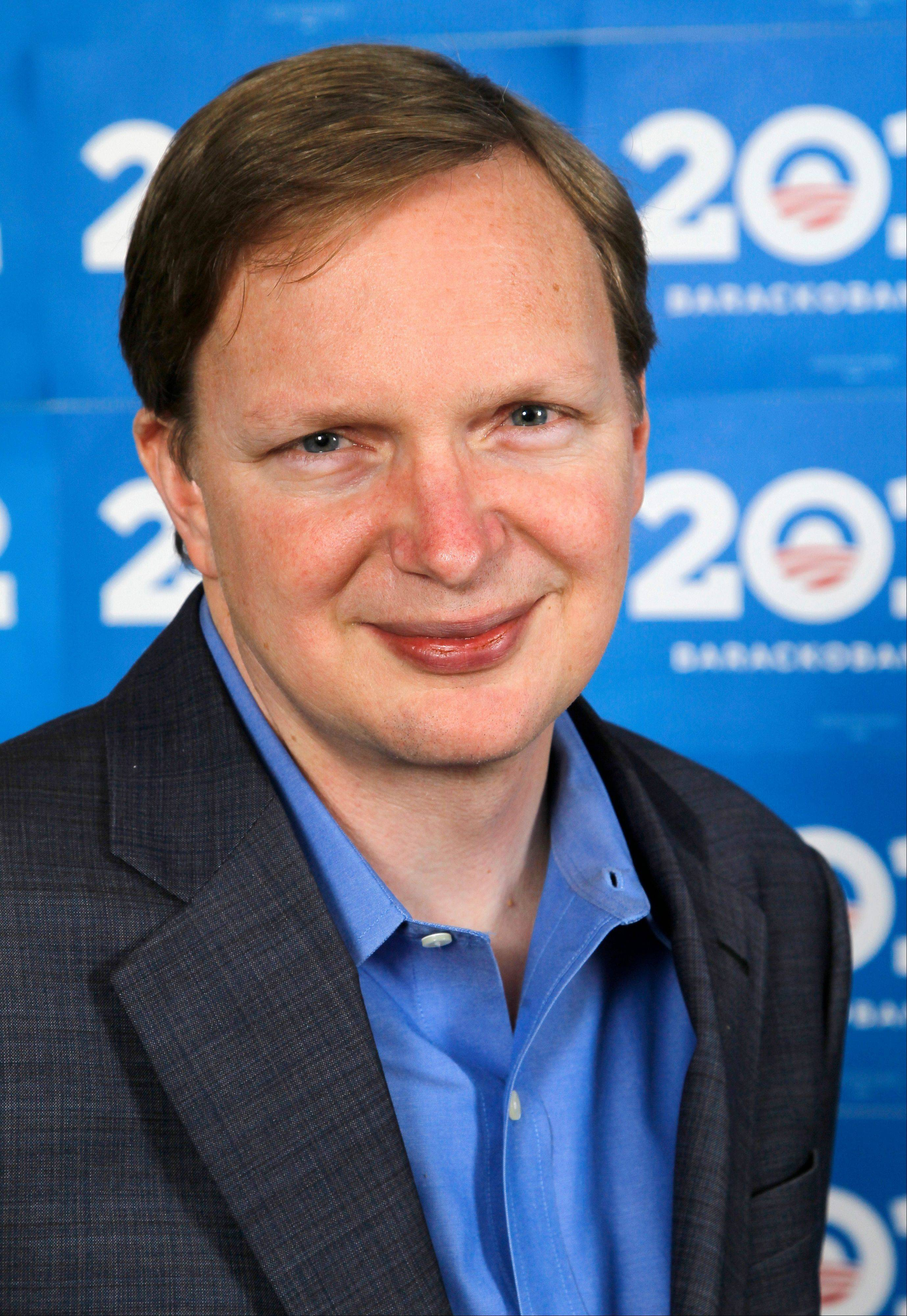 This photo taken Dec. 28, 2011, shows Obama 2012 campaign manager Jim Messina at the campaign headquarters in Chicago. Messina, who was David Plouffe's former deputy during the 2008 campaign, has likened the re-election headquarters to a Silicon Valley startup company, demanding metrics and results from his aides.