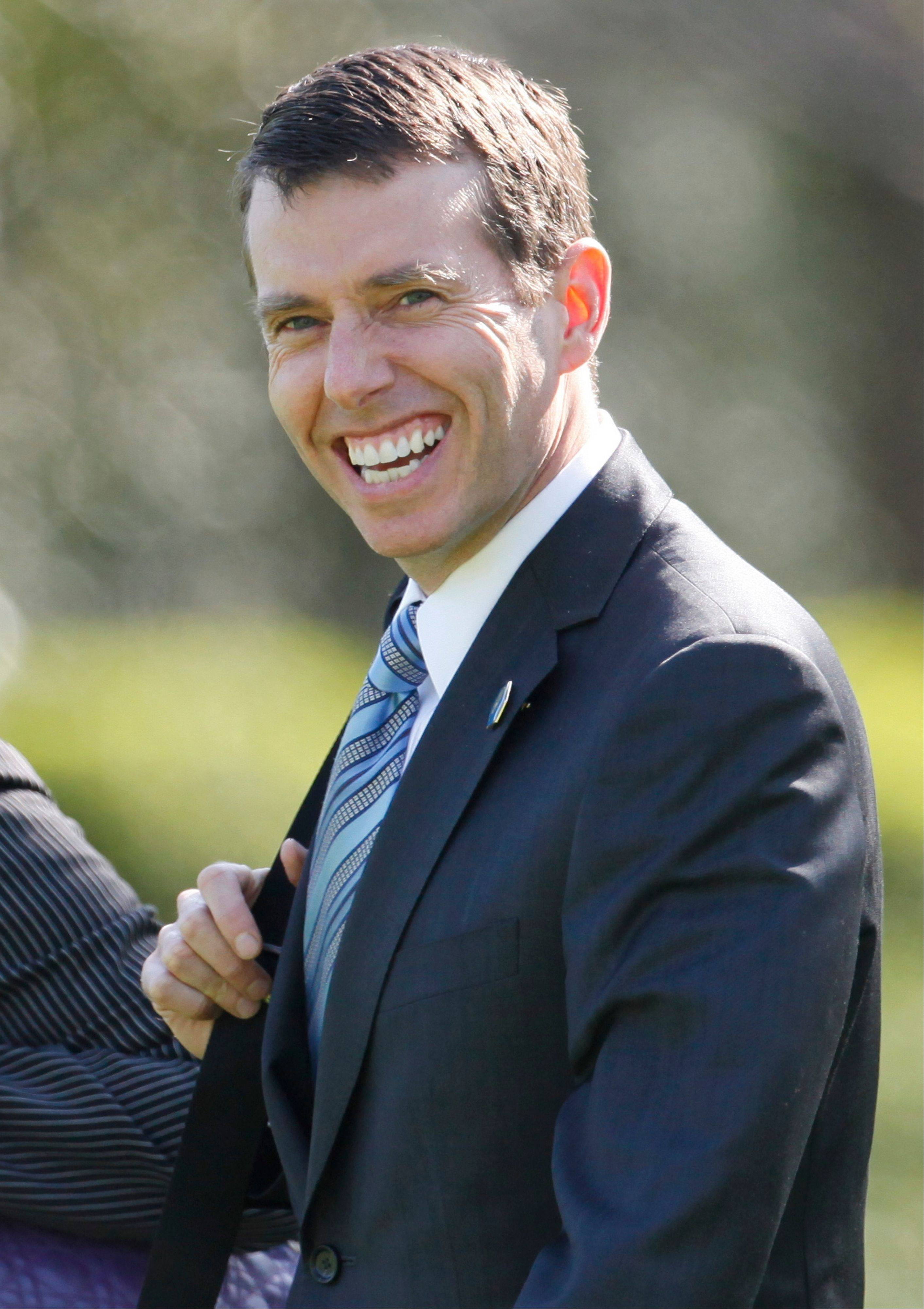 This photo taken April 14, 2011, shows senior adviser David Plouffe on the South Lawn of the White House as he accompanies President Barack Obama to Chicago. Obama's 2008 campaign manager is helping shape the president's re-election strategy from the West Wing. The Delaware native returned to Obama's side after Democrats lost control of the House in the 2010 elections and is arguably the most important person in melding Obama's policies with politics.