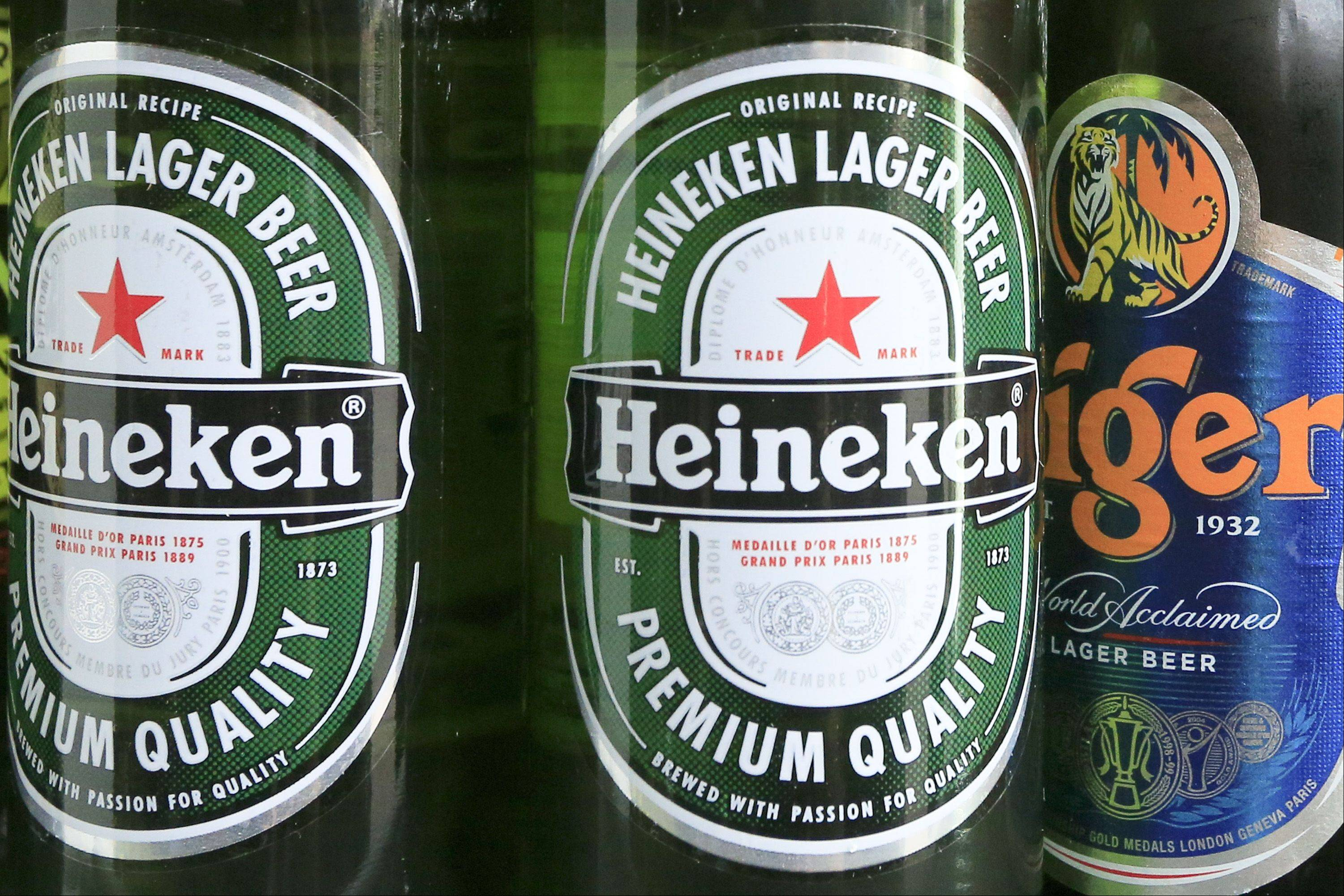 Bottles of Heineken NV beer and Asia Pacific Breweries Ltd.�s Tiger beer at a store in Beijing, China.