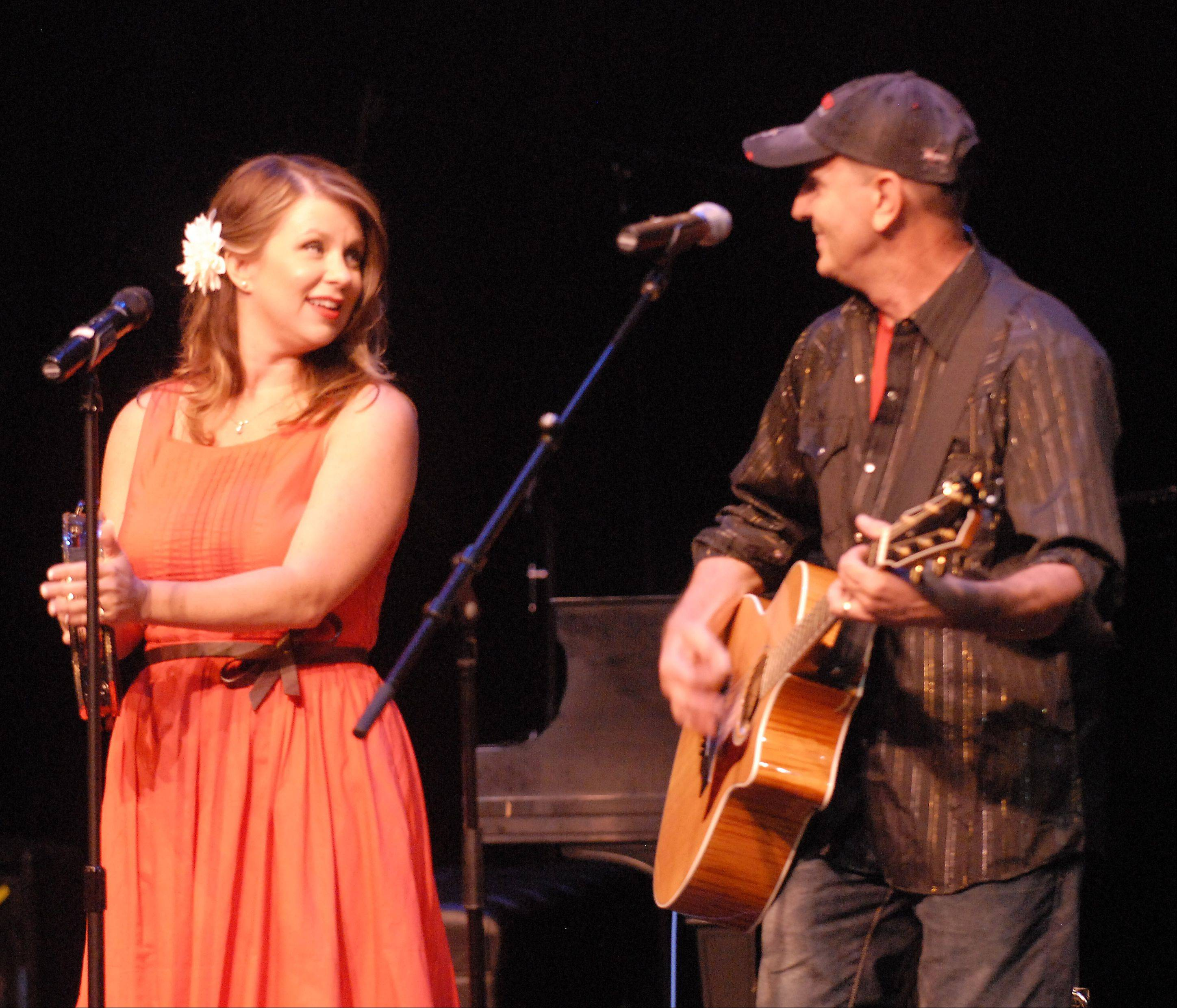 Camille Eiseman and Terry Tank, billed as Faith and Whiskey, from Crystal Lake, perform for judges and an audience as one of the top 10 acts in the Suburban Chicago's Got Talent competition Sunday evening at the Metropolis Performing Arts Centre in Arlington Heights.