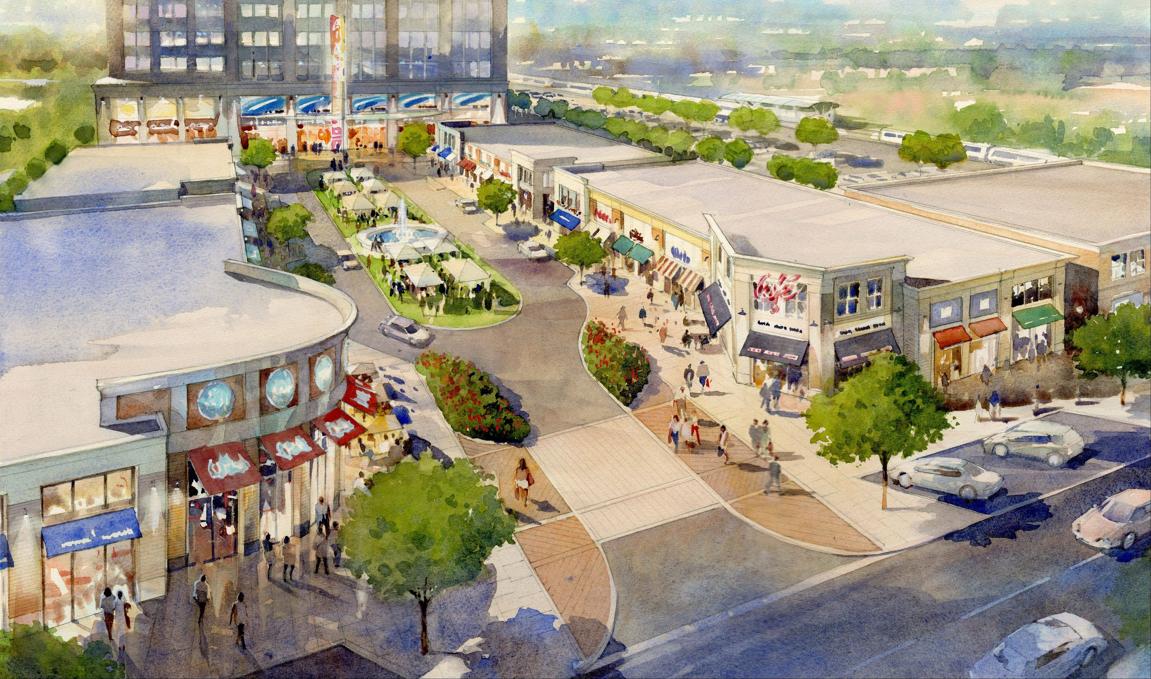 Rendering of plans for the Wheeling Town Center