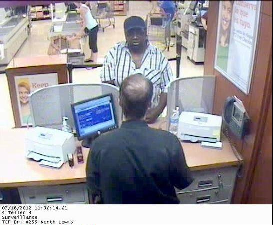 The FBI says this image shows Zion resident Larry D. Williams robbing a Waukegan TCF Bank branch inside the Jewel-Osco at 3124 N. Lewis Ave. on Wednesday.