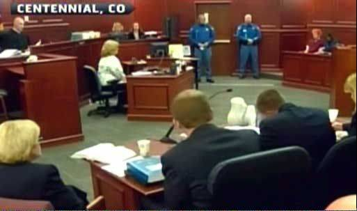 The courtroom where suspect James Holmes made his first appearance this morning.