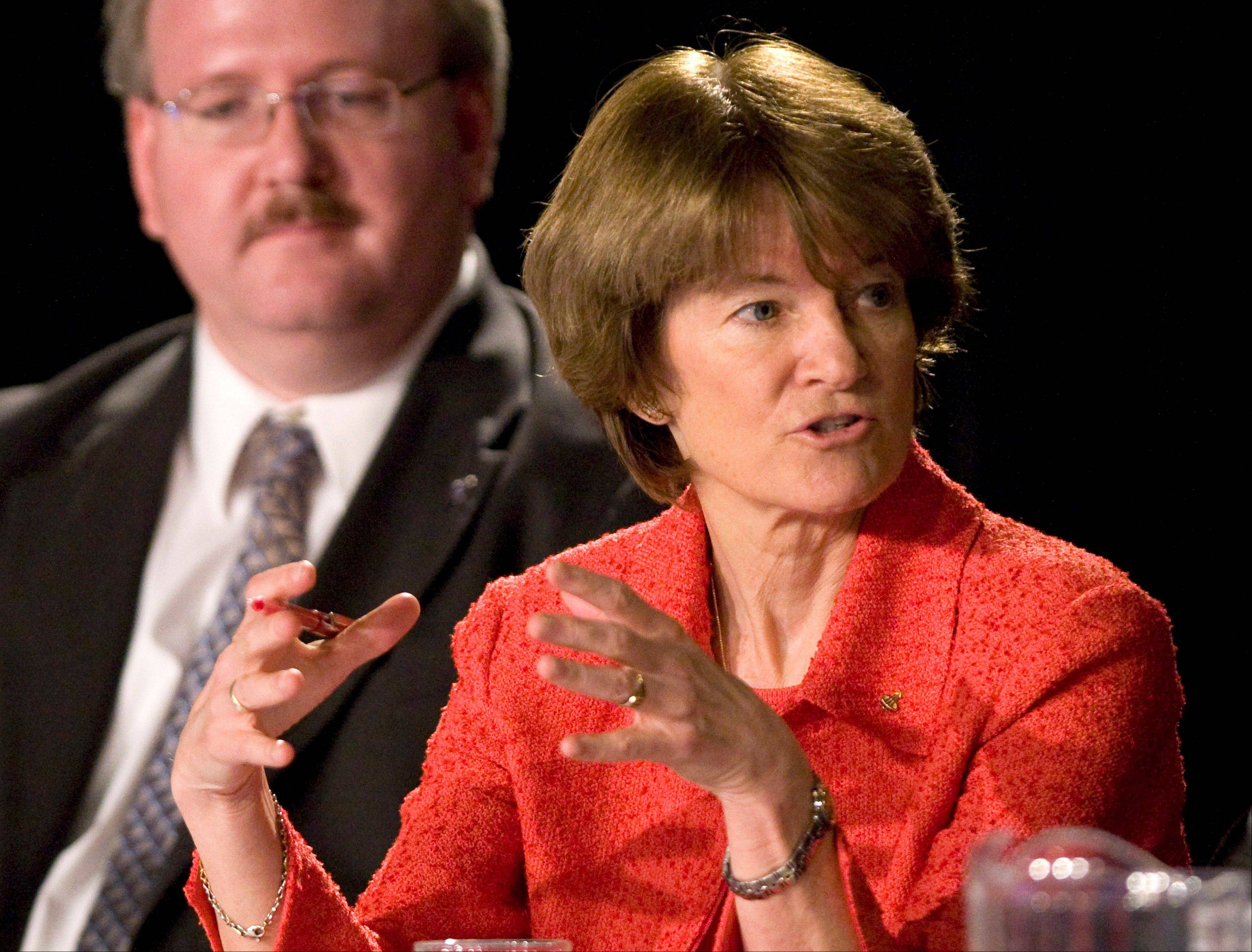 In this July 28, 2009, file photo, former astronaut Dr. Sally Ride, with Jeffrey Greason in the background, comments during a public meeting of the Review of U.S. Human Space Flight Plans Committee, in League City, Texas. Ride, the first American woman in space, died Monday, July 23, 2012 after a 17-month battle with pancreatic cancer. She was 61.