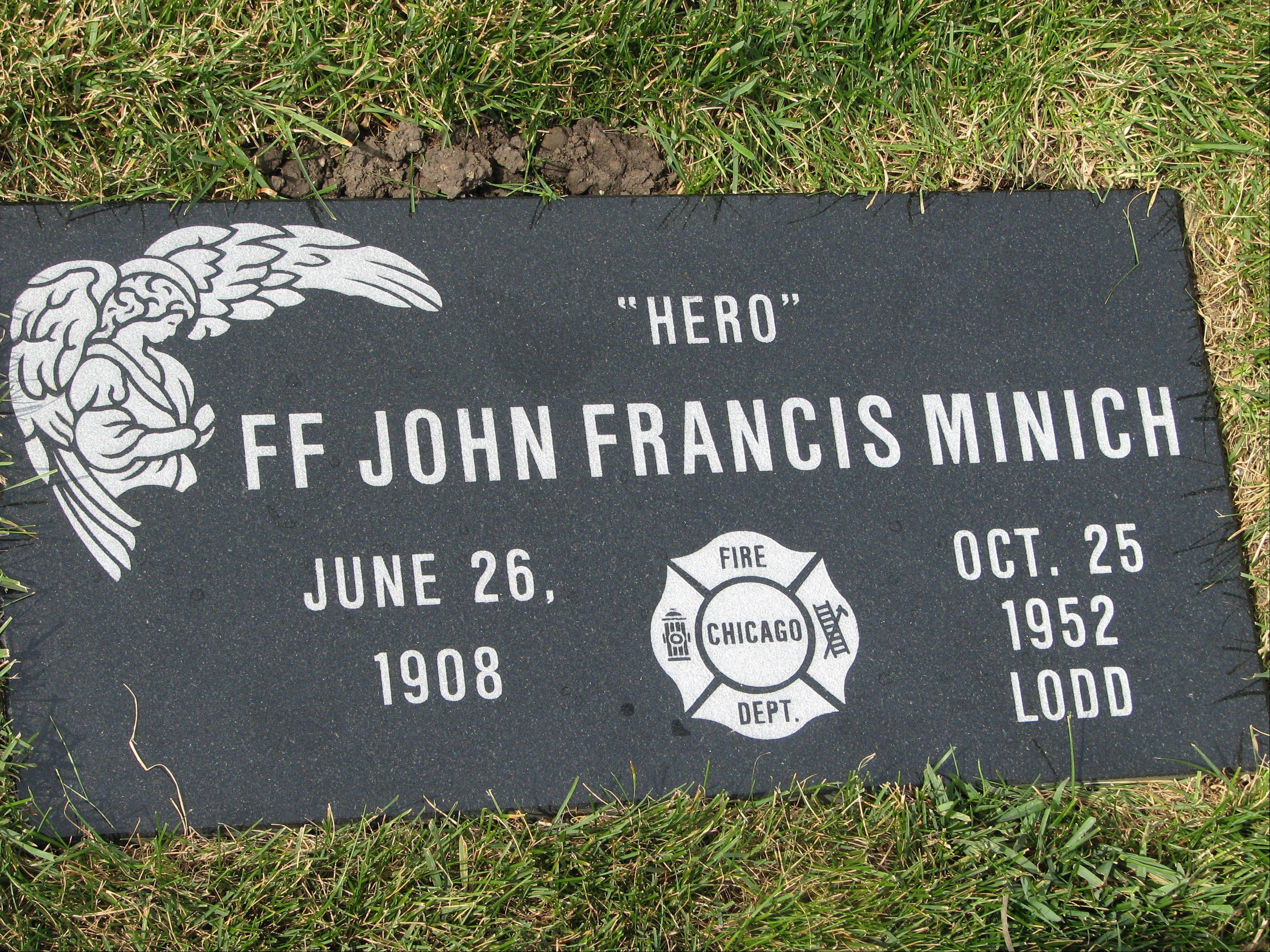 This is the freshly placed memorial stone donated by Mount Emblem Cemetery of Elmhurst in honor of John Minich.