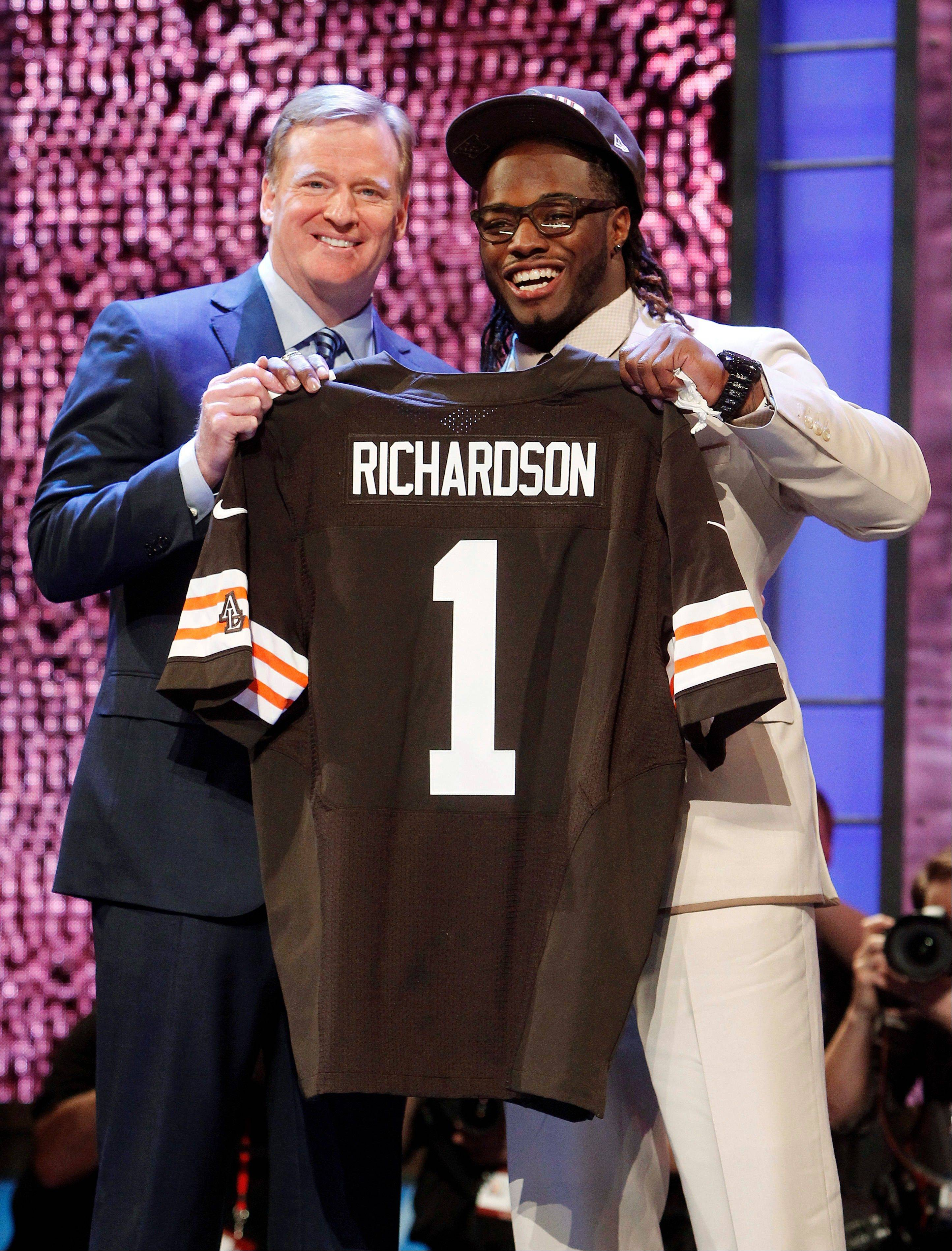 Alabama running back Trent Richardson, right, was selected by the Cleveland Browns as the third pick overall in the NFL draft in April.