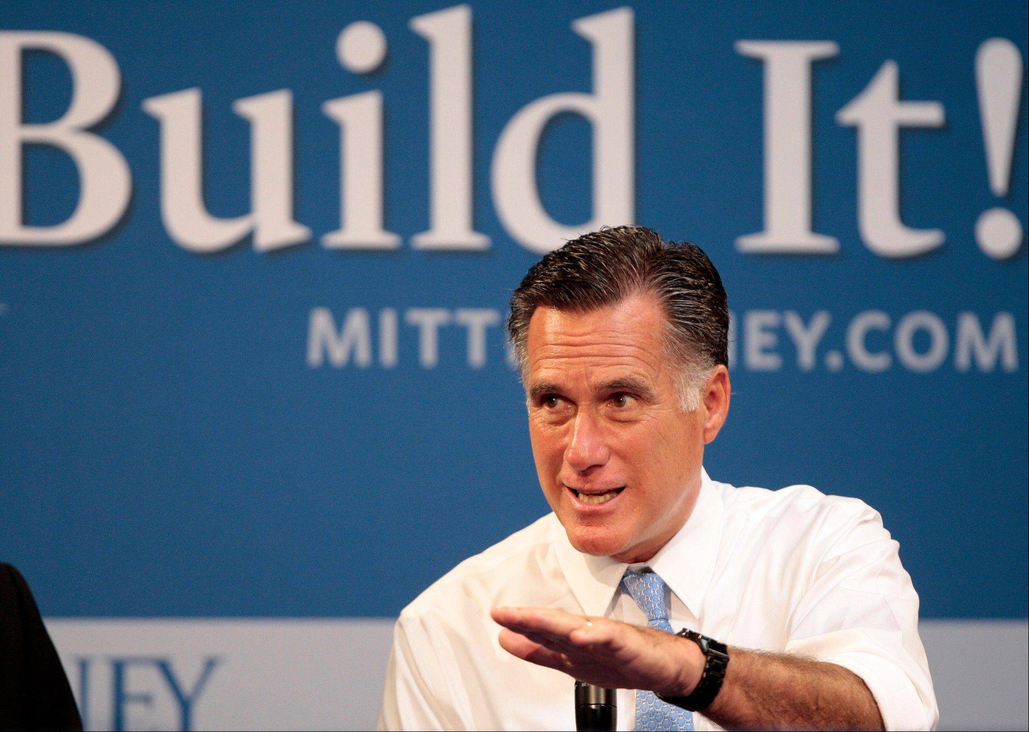 Republican presidential candidate, former Massachusetts Gov. Mitt Romney hosts a small-business roundtable during a campaign stop at Endural LLC, Monday in Costa Mesa, Calif.