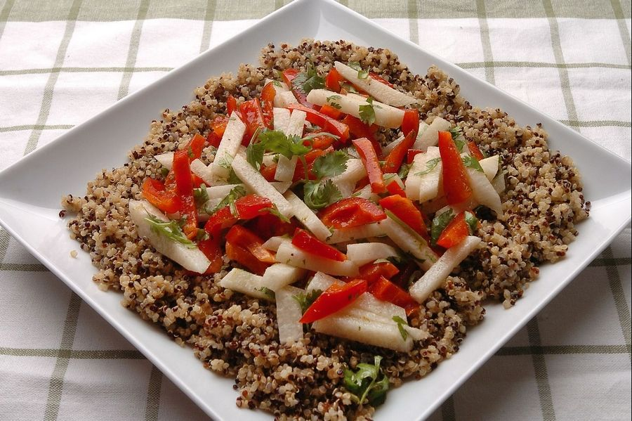 Quinoa with Jicima and Red Peppers