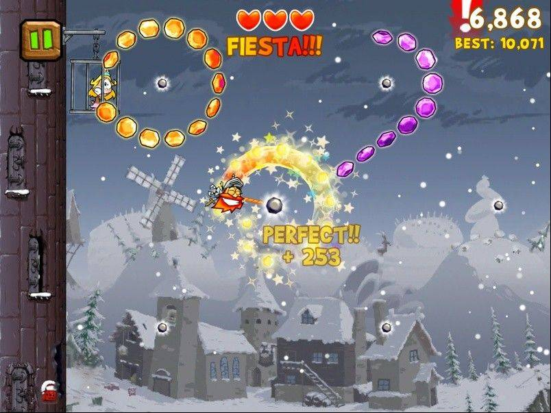 "Playing as a knight swinging across a gem-filled sky in ""Knights of the Round Cable"" can provide hours of entertainment on the iPad."