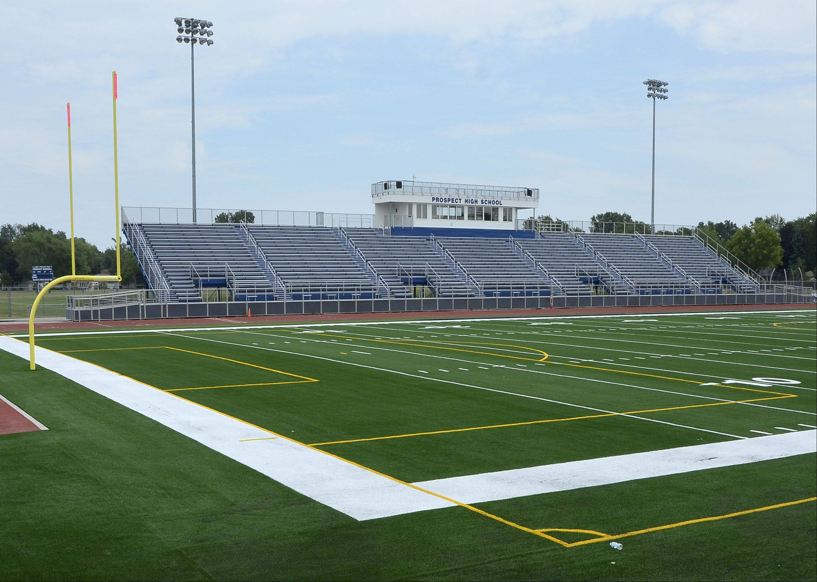 Prospect High School has installed new synthetic turf on the football field for the upcoming school year. New fields also were installed this summer at Buffalo Grove and Rolling Meadows high schools.