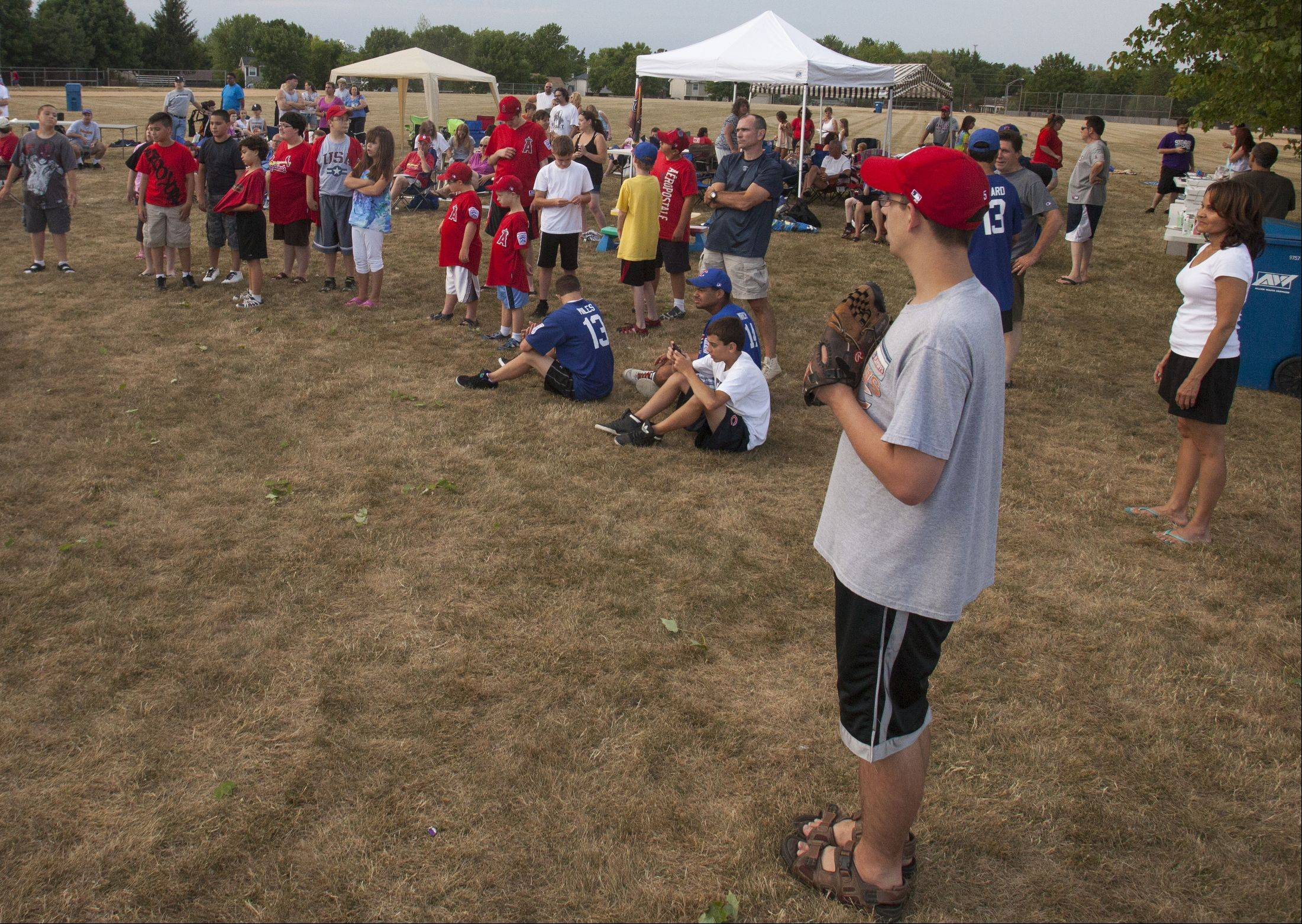 A few players from the Bartlett Little League Challenger Division await their end-of-year trophies.