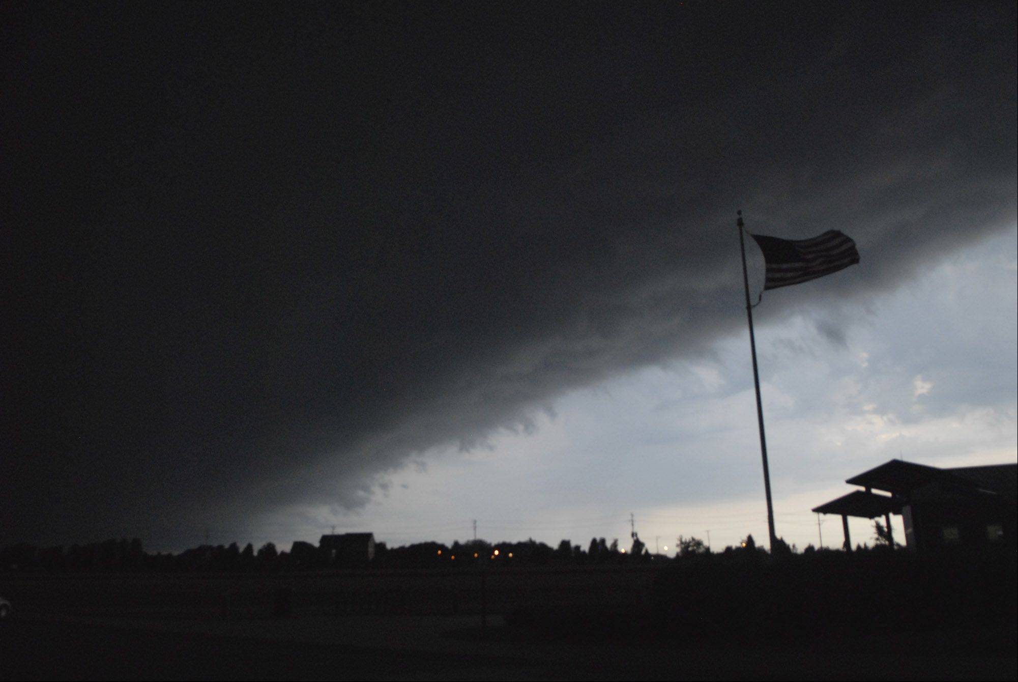 A severe storm rolls in over Peck Farm in Geneva around 6 a.m. Tuesday.