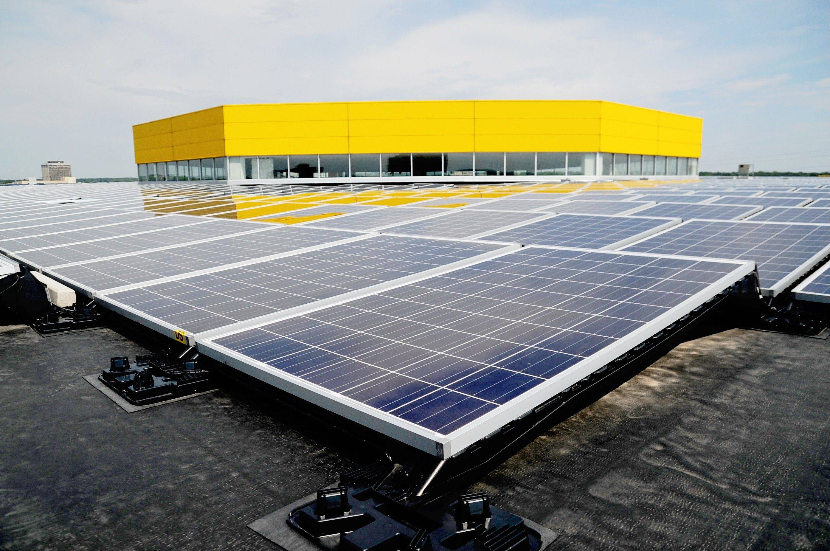 New solar panels have been installed on the rooftop of the Ikea in Schaumburg. Local officials and company executives gathered Wednesday to debut the new power system.