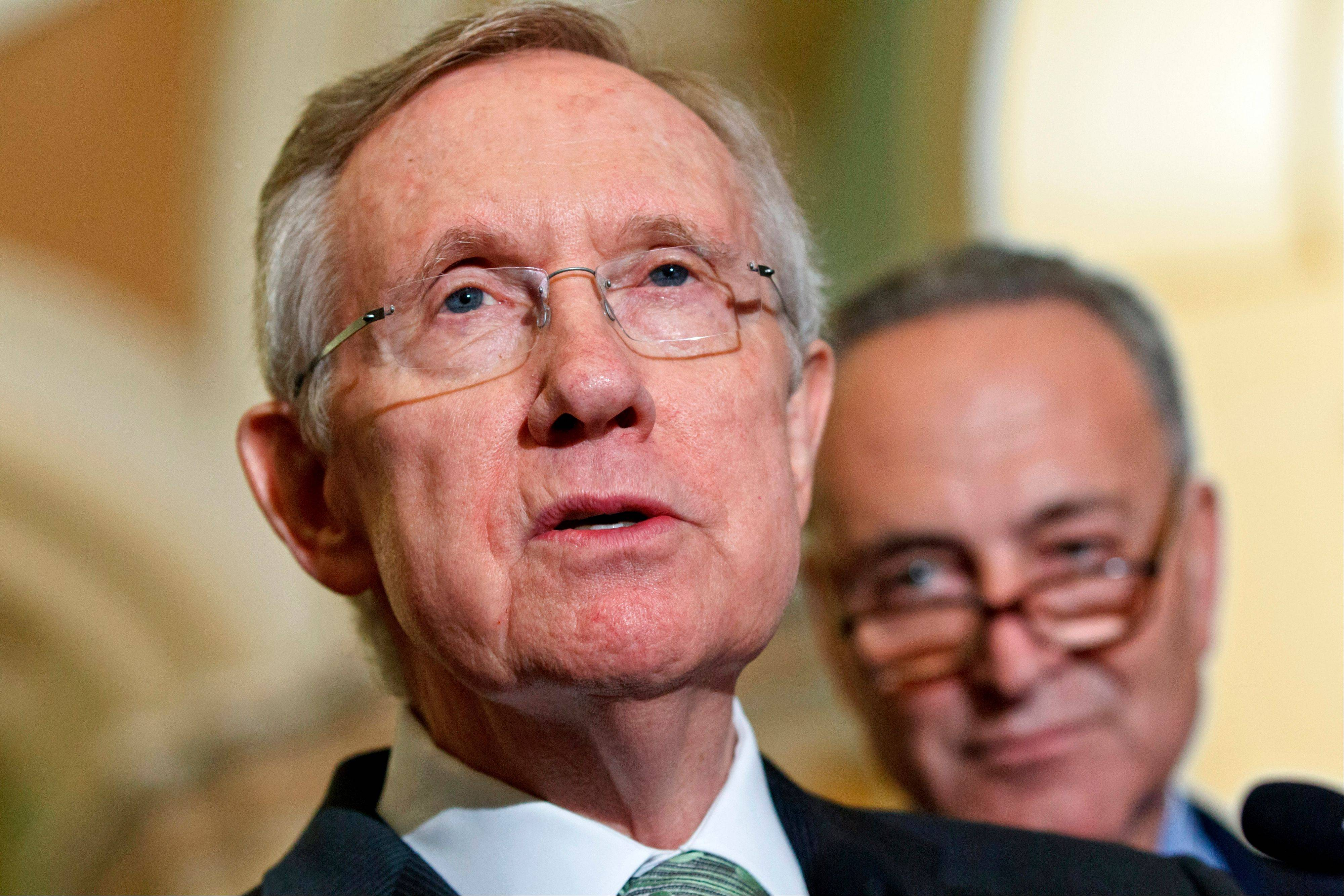 Senate Majority Leader Harry Reid discusses Senate passage of the Democrats� version of a yearlong tax cut extension bill by a near party-line vote Wednesday on Capitol Hill.