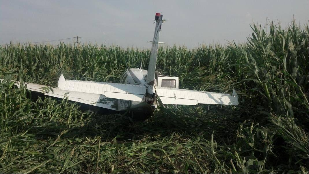 This Beechcraft Bonanza single-engine airplane made an emergency landing Wednesday morning in a cornfield just north of the Aurora Municipal Airport after losing power during takeoff.