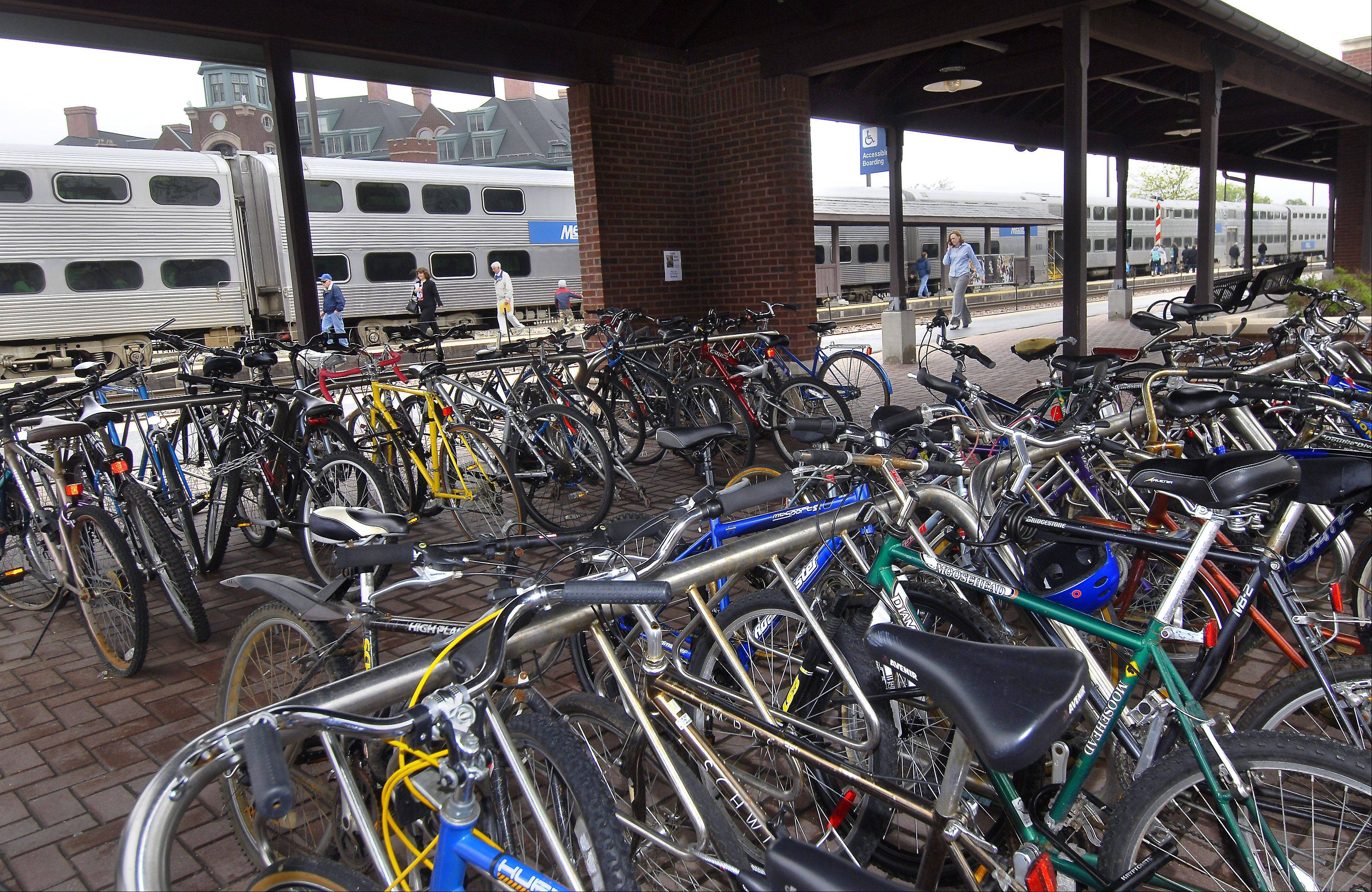 Bike racks at the Metra station in Arlington Heights are among the reasons it ranks as one of the most transit-friendly towns in the region.