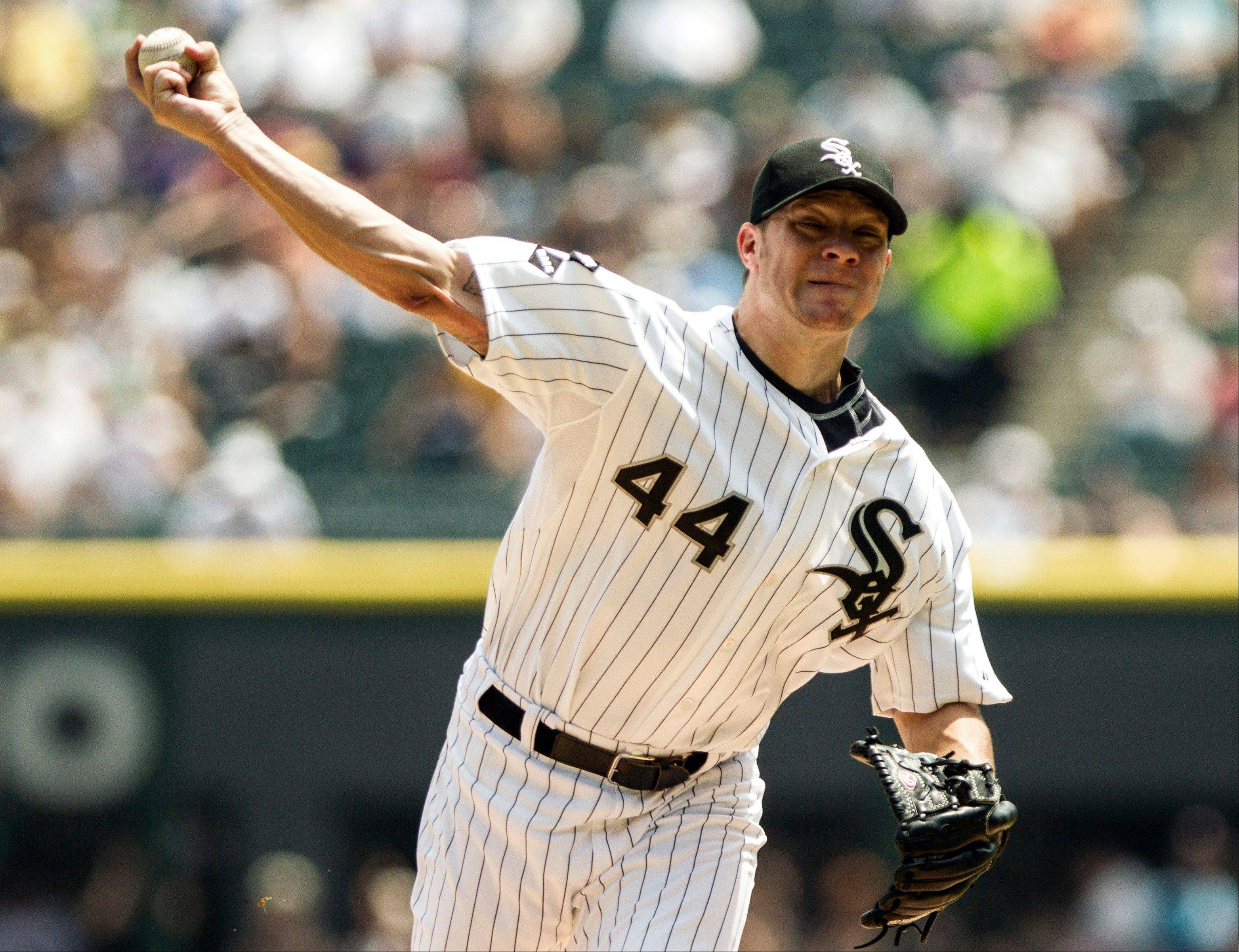 White Sox starter Jake Peavy improved to 8-7 after struggling through 6 innings to beat the Twins on Wednesday.