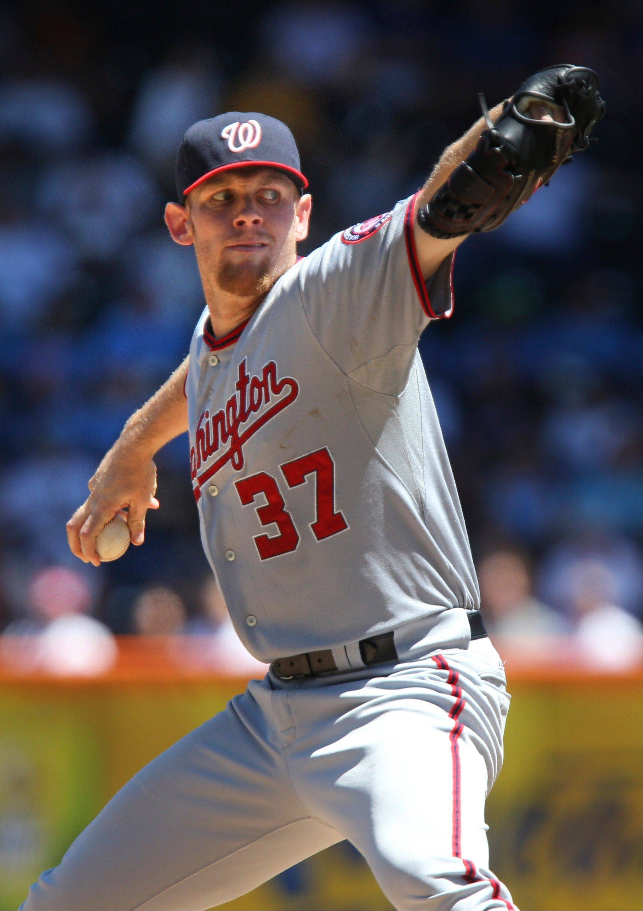 Washington Nationals starting pitcher Stephen Strasburg pitches Wednesday during the second inning against the New York Mets at Citi Field in New York.