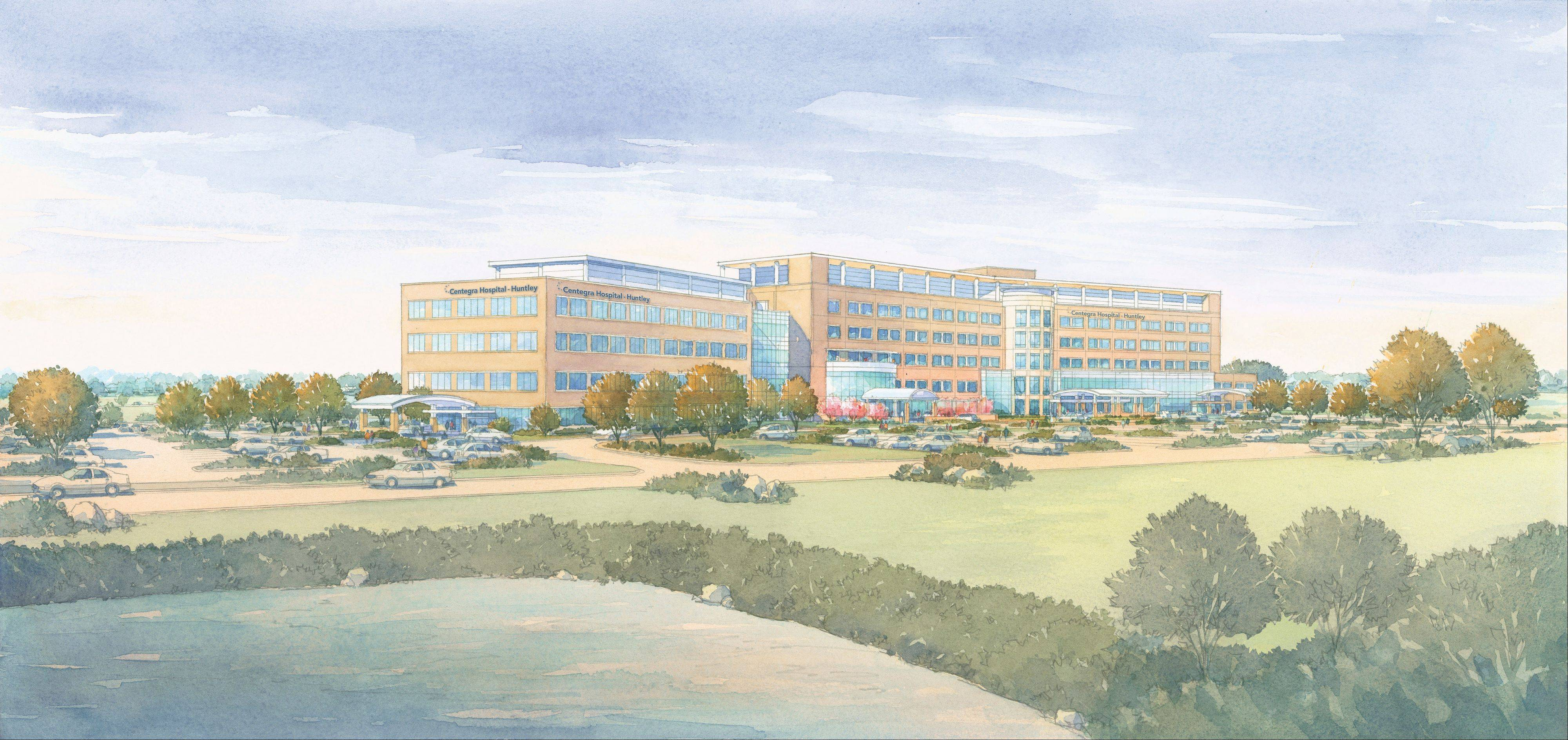 A rendering of the 128-bed hospital that Centegra Health System will begin building in Huntley.