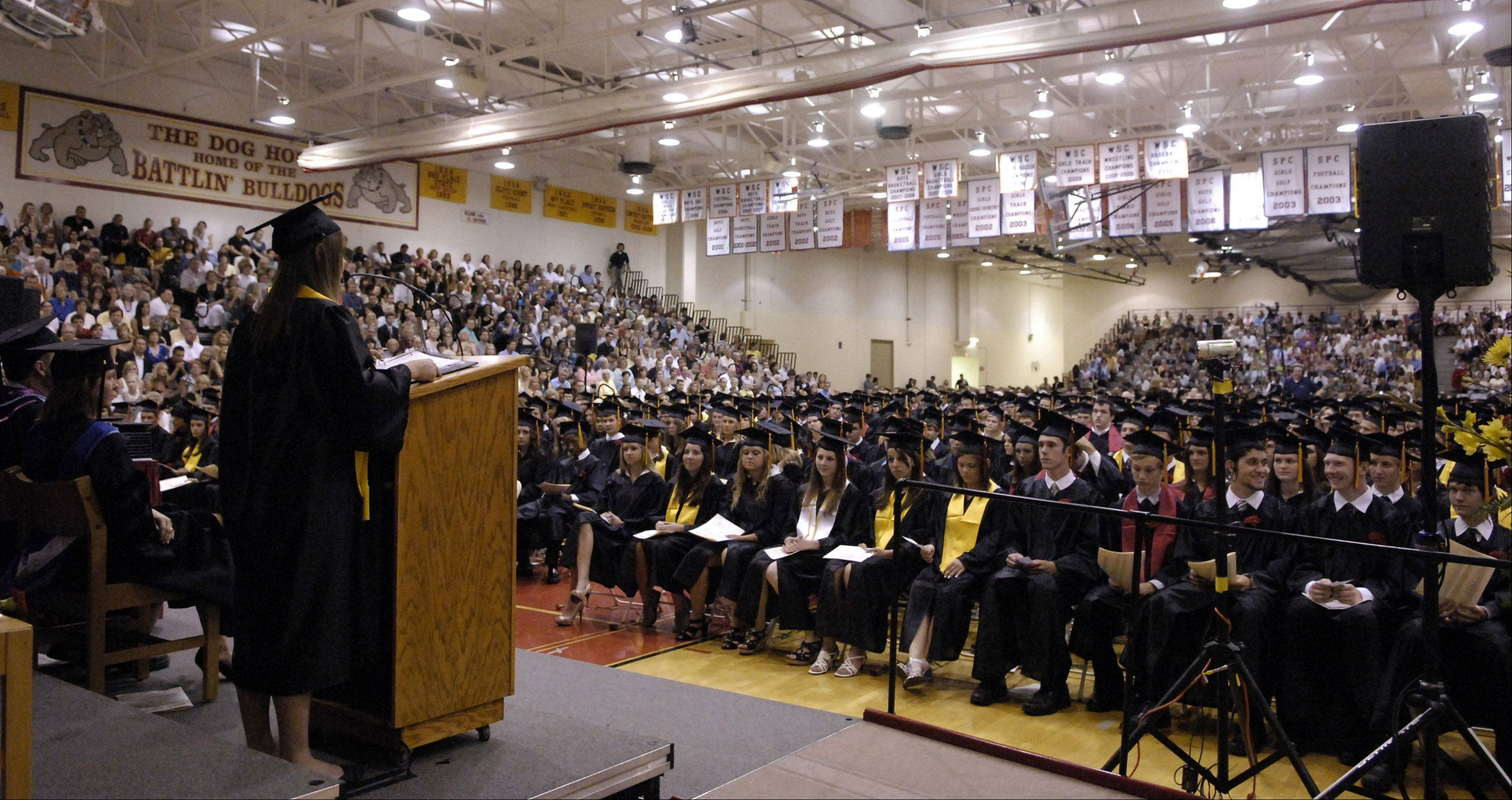 The gymnasium at Batavia High School is always packed for graduation ceremonies. The school is considering moving the event off-site in 2013 to allow for more guests.