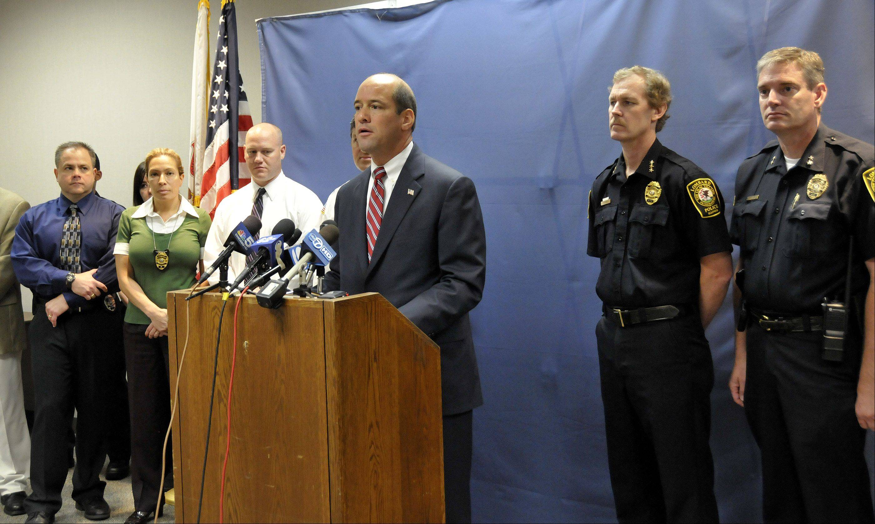 DuPage County State's Attorney Robert Berlin discusses charges against a the Villa Park man charged with the first degree murder of 24-year-old Paula Morgan of Lombard.