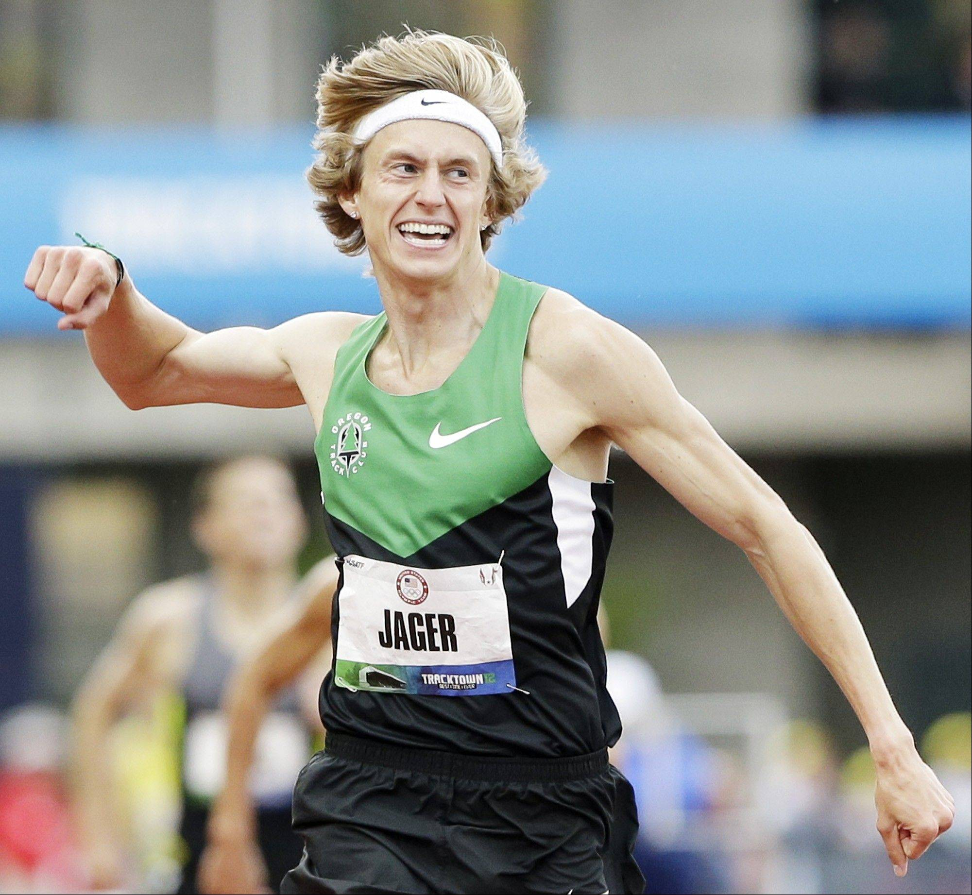 Evan Jager celebrates after winning the men's 3000-meter steeplechase at the U.S. Olympic Track and Field Trials on June 28 in Eugene, Ore. Since then, Jager broke the U.S. record at an international meet last Friday in Monaco.