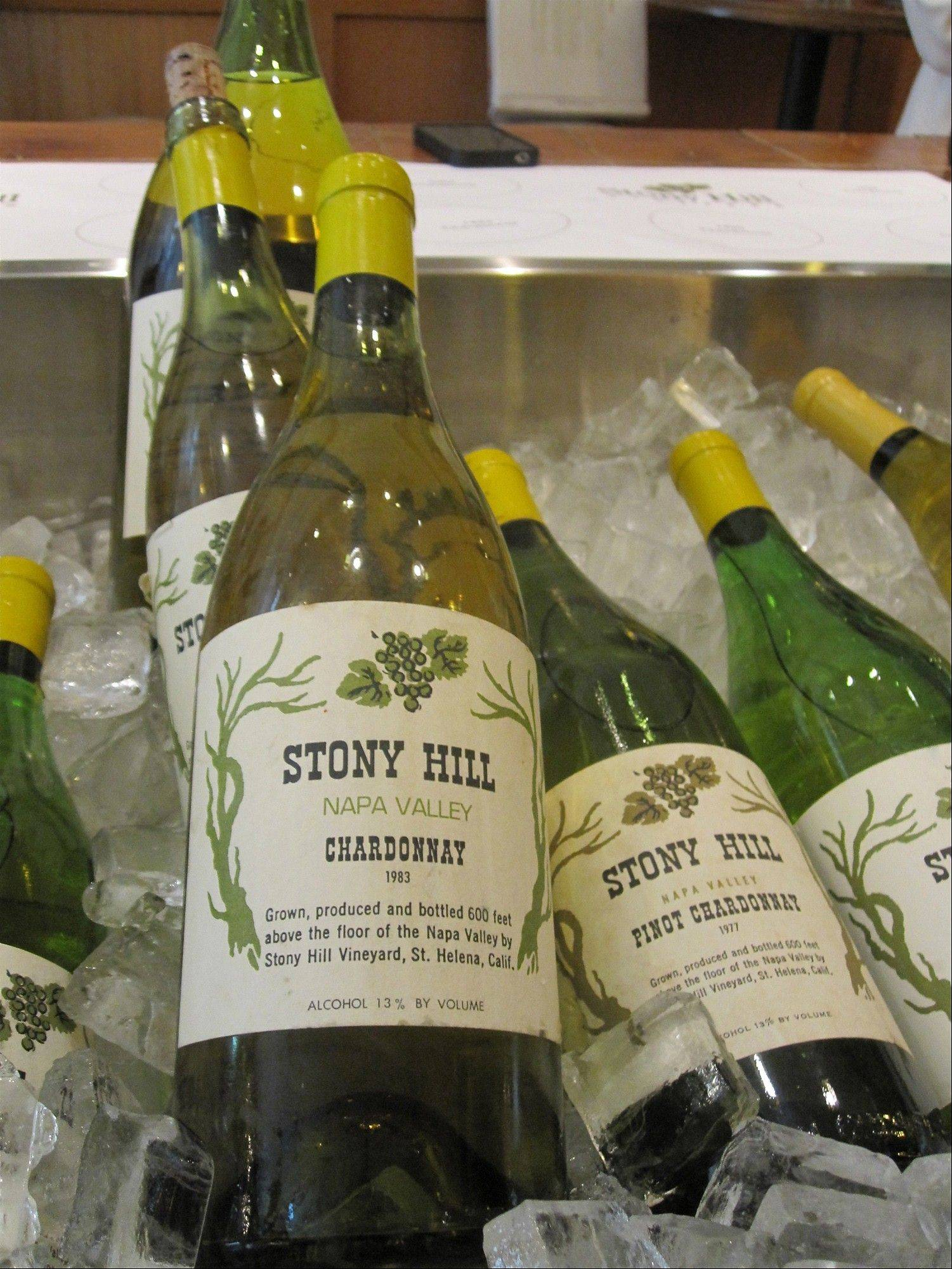 Old vintages of Stony Hill Vineyard�s Chardonnay chill on ice for a retrospective tasting in honor of the 60th anniversary of the winery�s first vintage, 1952, in New York. Stony Hill is one of California�s great old wineries, with a reputation for Chardonnays that can evolve and last for decades.