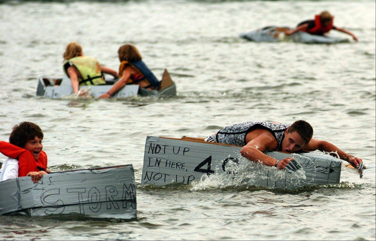 Russel Cardelli of Algonquin, 21, earned first place for Team Cardelli, in the Cardboard Boat Regatta at last year�s Algonquin Founders� Days Festival.