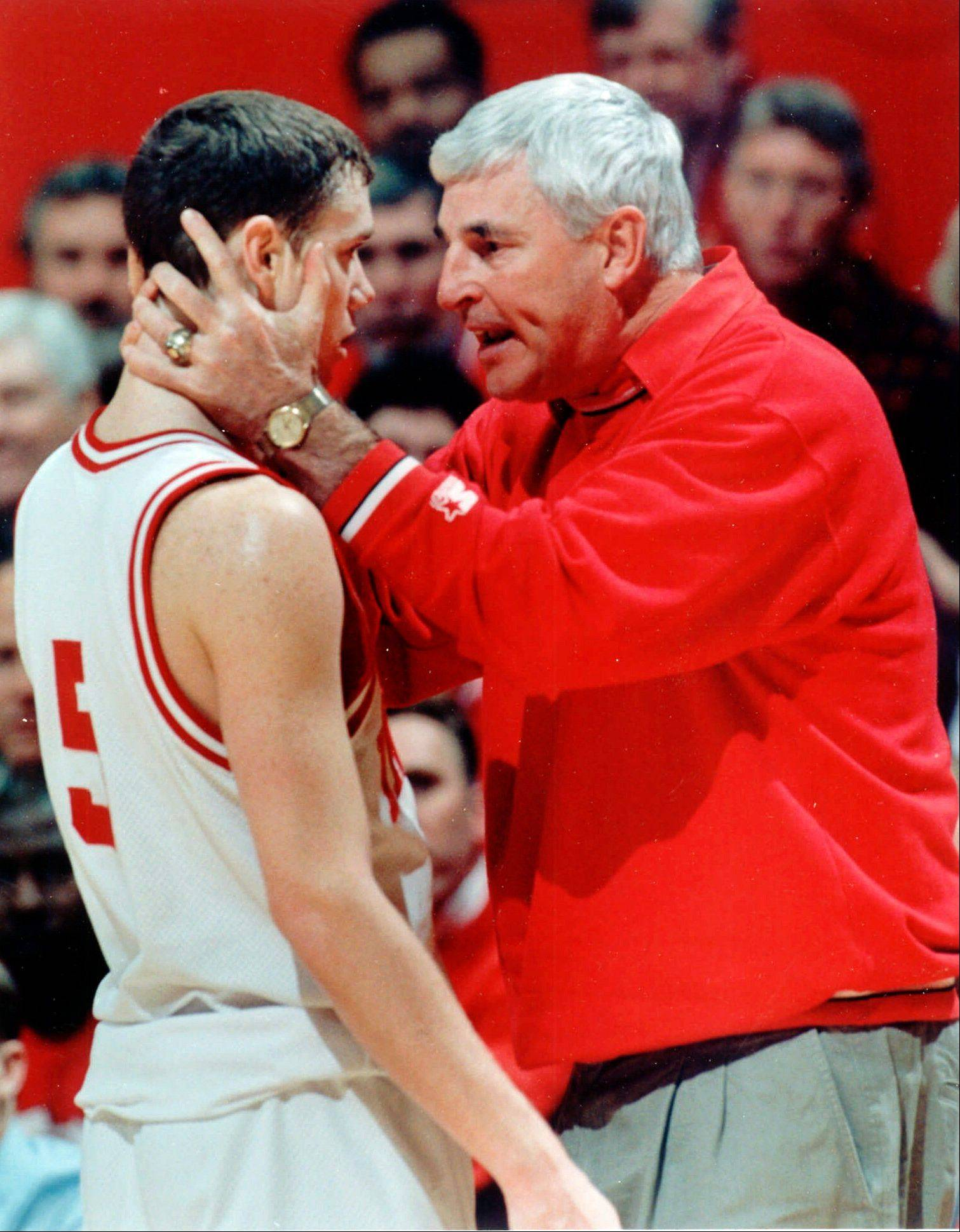 Indiana head coach Bob Knight talks with Neil Reed during a 1996 game against Ohio State at Assembly Hall in Bloomington, Ind. In March 2000, Reed accused Knight of choking him during a practice in 1997.
