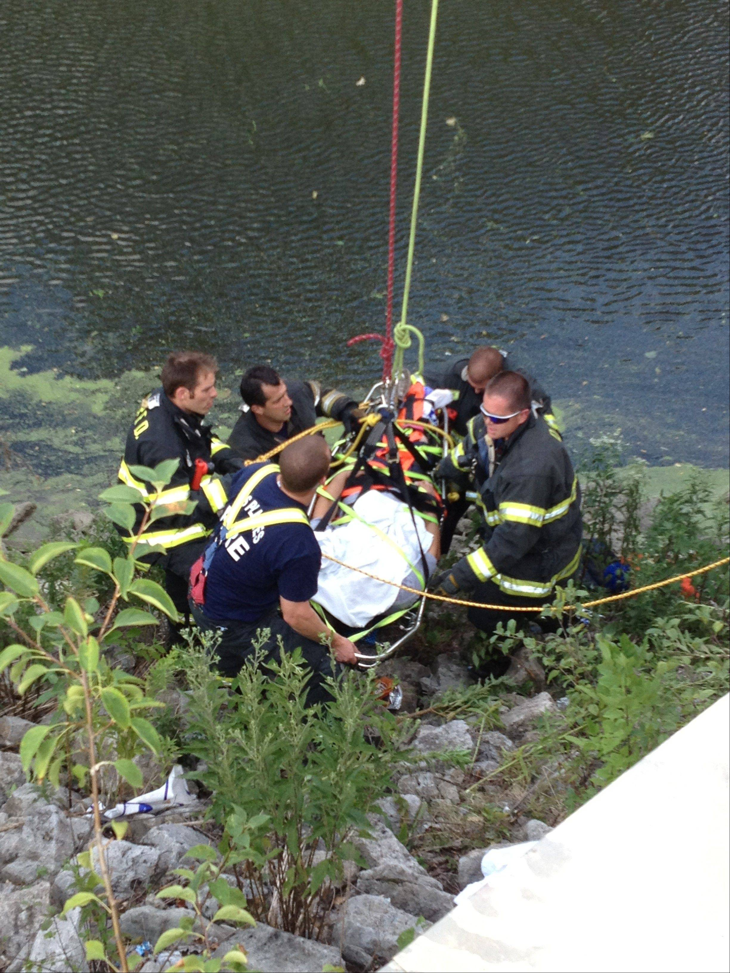 Des Plaines firefighter/paramedics finish packaging a patient in a basket stretcher to prepare him to be lifted onto the Golf Road bridge from the bank of the Des Plaines River. The patient's face was covered with a towel to protect him from a swarm of bees.