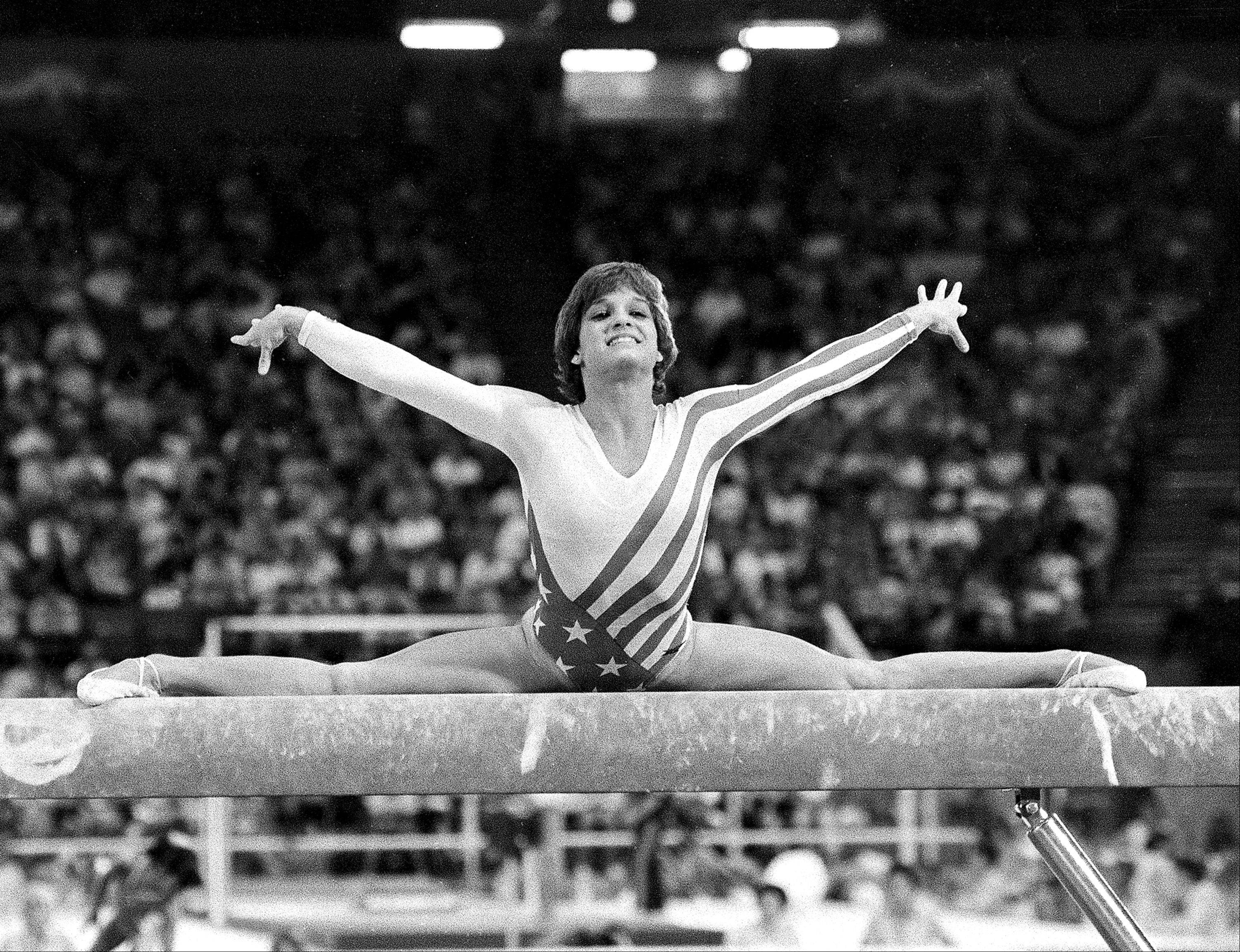 Mary Lou Retton, of the U.S.A., performs on the balance beam during the women's gymnastics individual all-around finals at the XXIII Summer Olympic Games in Los Angeles, Calif., on Aug. 3, 1984.