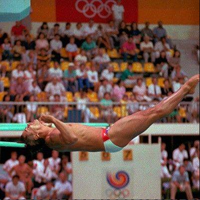 Greg Louganis hits hit head competition at the XXIV Summer Olympic Games in Seoul, South Korea on Sept. 27, 1988.