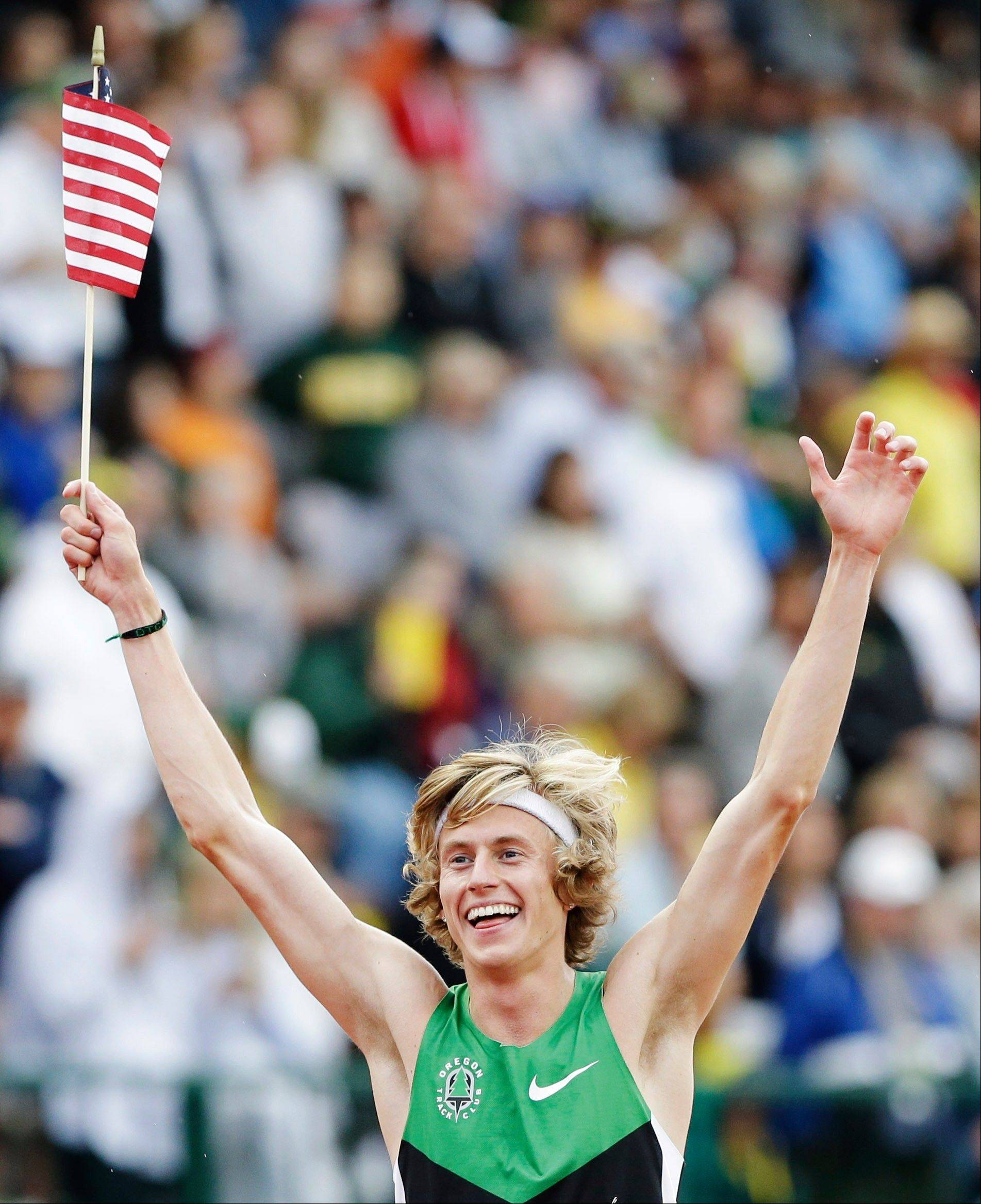 Evan Jager celebrates after winning the men's 3000 meter steeplechase at the U.S. Olympic Track and Field Trials Thursday, June 28, 2012, in Eugene, Ore.