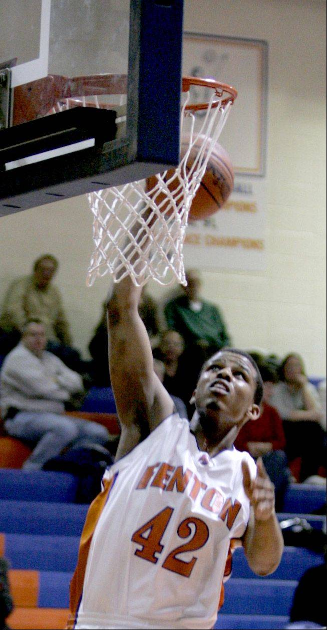 Richard Oruche of Fenton had 17 points in the first half at Glenbard North. Oruche will compete with Nigeria in the 2012 London games.