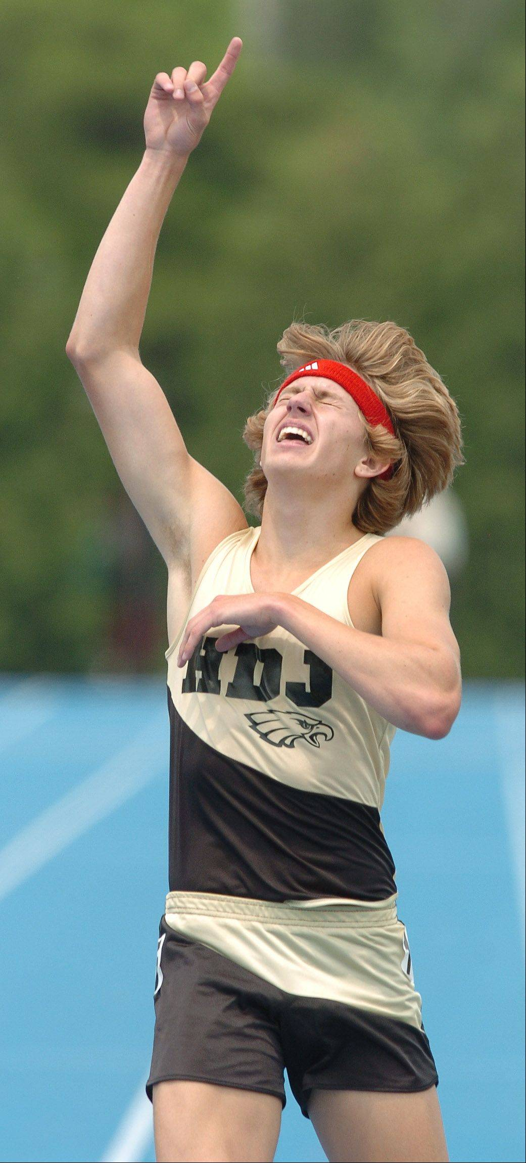 Evan Jager of Jacobs High School wins the 3,200 meter run during the state boys track finals at Charleston in May 2007.