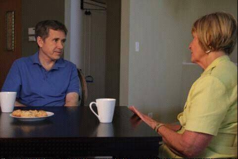 U.S. Sen. Mark Kirk, a Highland Park Republican, meets with U.S. Rep. Judy Biggert, a Hinsdale Republican, at his home on Thursday.