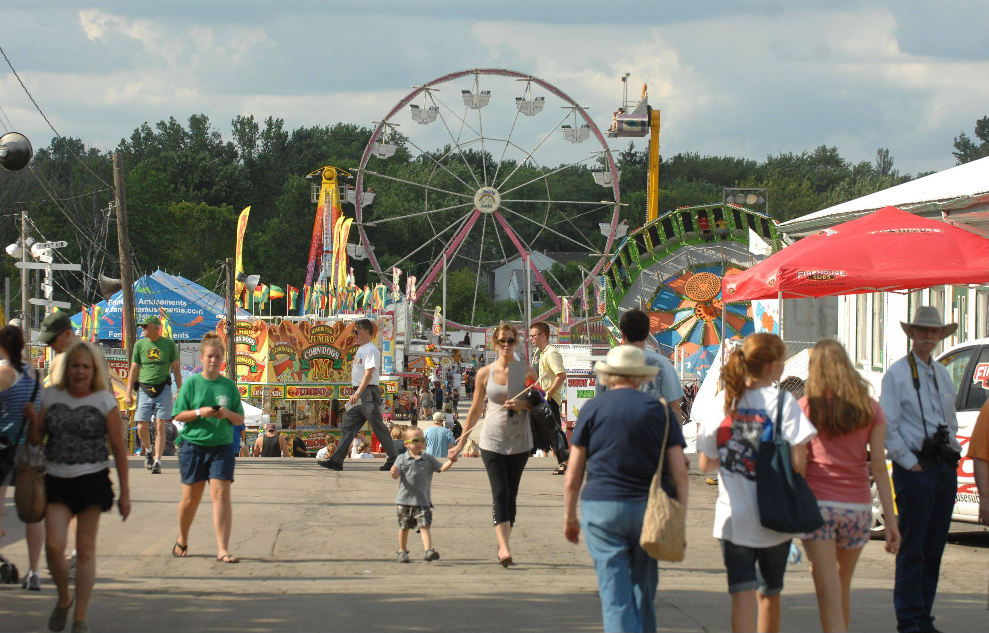 The midway during day three of the DuPage County Fair in Wheaton.