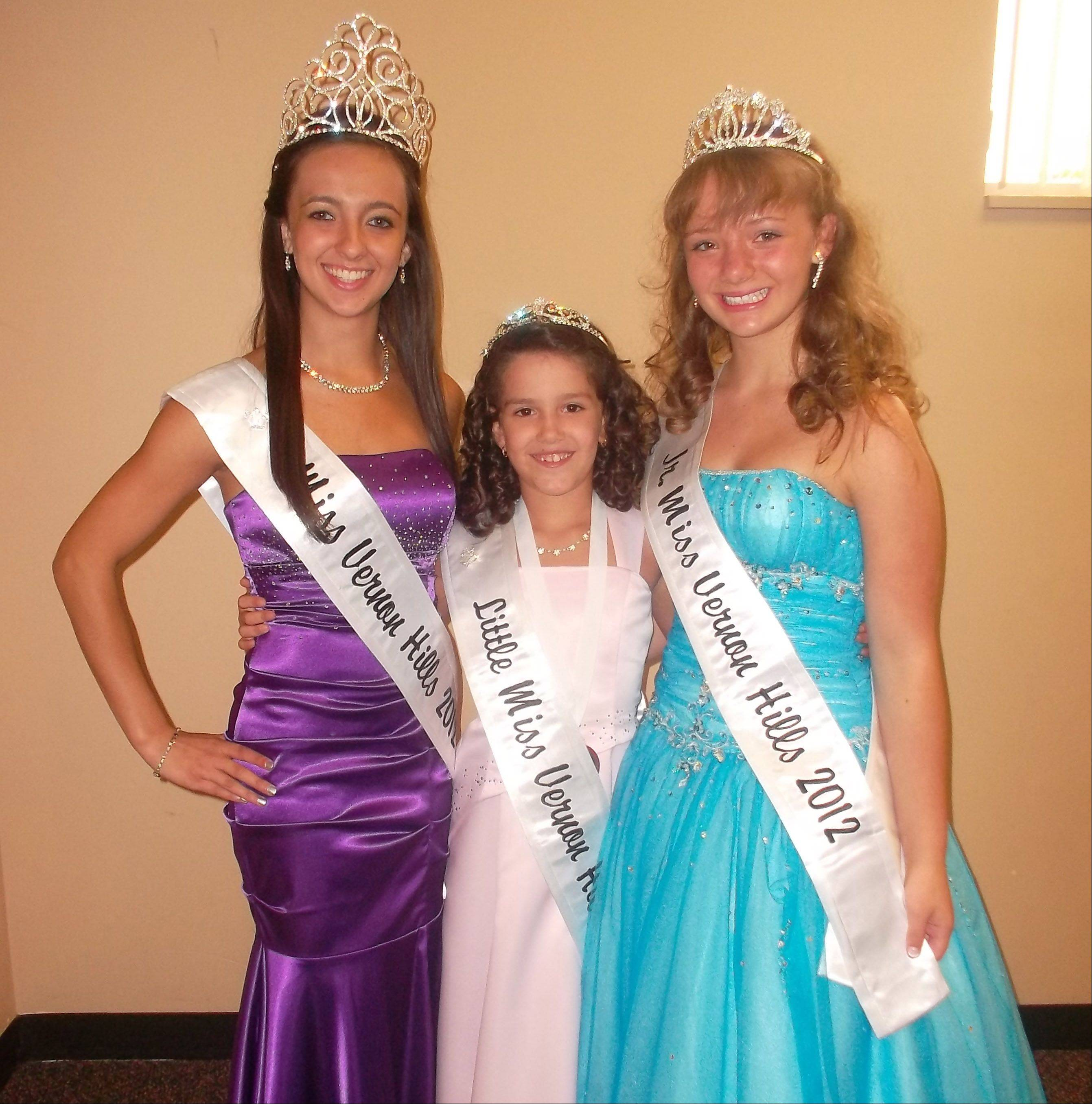 Miss Vernon Hills 2012 Natalie Chiarello, 17, a senior at Vernon Hills High School, from left, Little Miss Vernon Hills 2012 Valerie Burda, 9, a fourth-grader at Hawthorn Elementary School, and Junior Miss Vernon Hills 2012 Brianna Bolotin, 12, a seventh-grader at Hawthorn Middle School North.