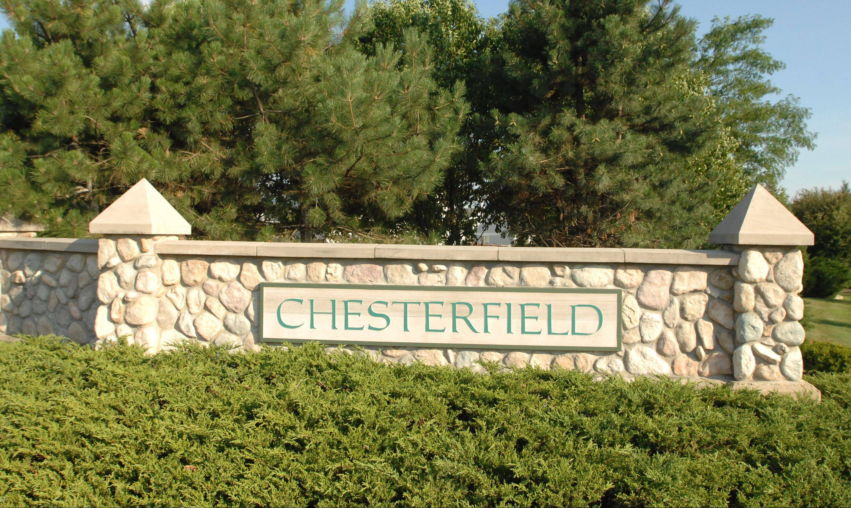An elegant stone entrance sign welcomes residents and guests to North Aurora's Chesterfield neighborhood.