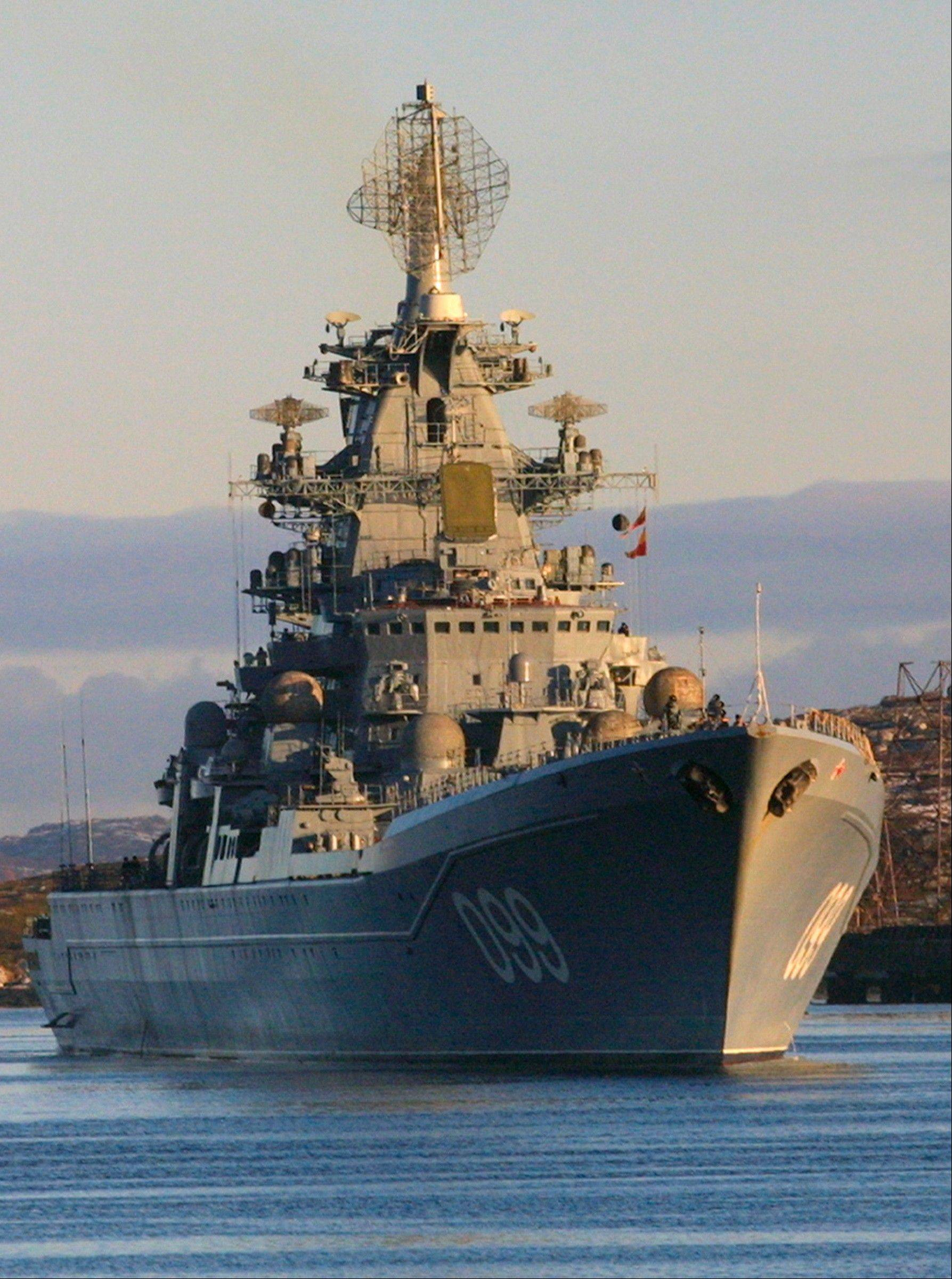 Associated Press/October, 2001The Pyotr Velikiy, Peter the Great, Russian nuclear-powered missile cruiser. Vice Admiral Viktor Chirkov, Russia's navy chief said Friday that Moscow is talking to Cuba, Vietnam and the Seychelles about housing Russian navy ships.