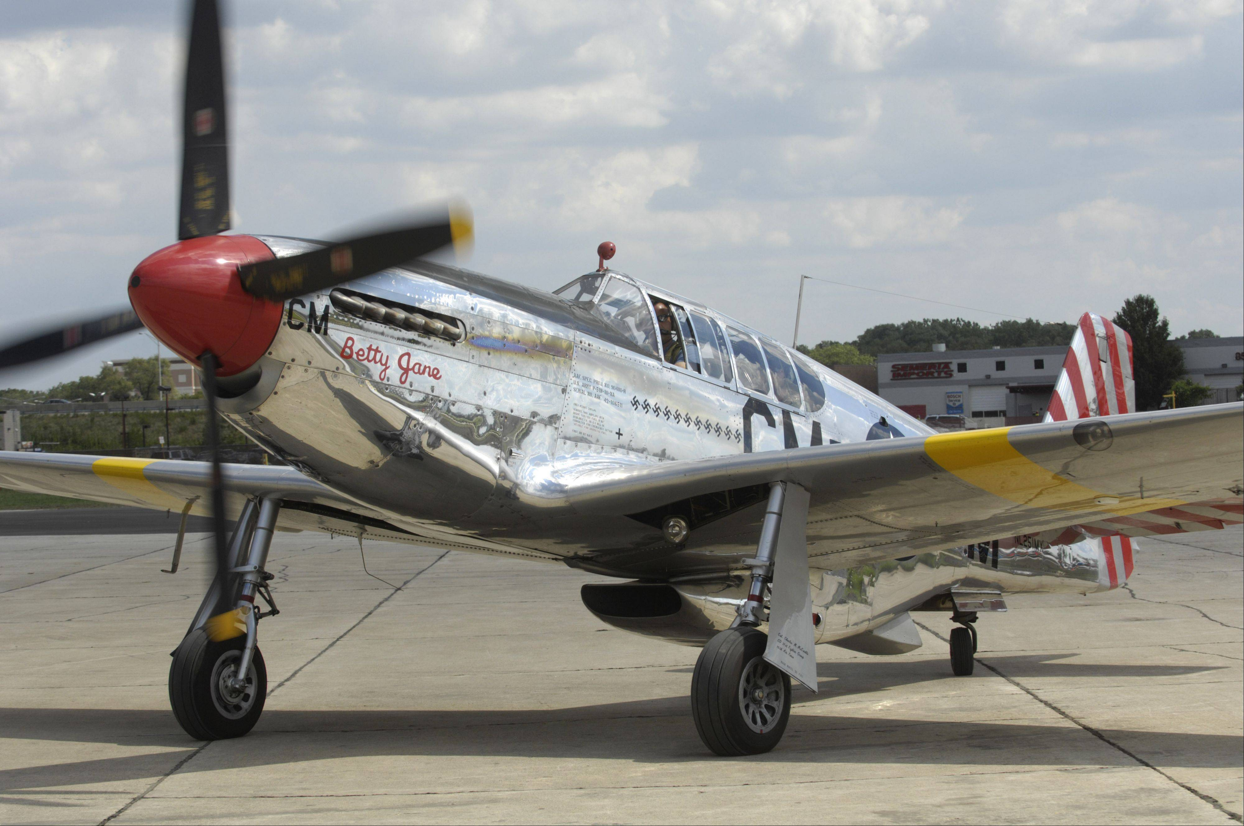 A P-51 Mustang is one of three World War II planes being displayed for the Wings of Freedom stop at Chicago Executive Airport this weekend.