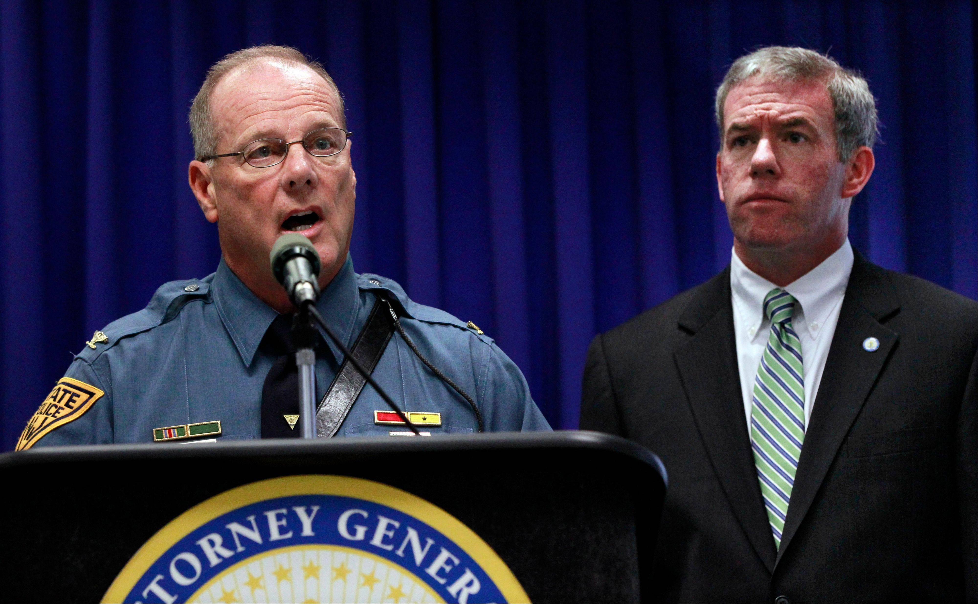 Associated PressNew Jersey Attorney General Jeffrey S. Chiesa, right, and State Police Superintendent Colonel Rick Fuentes.
