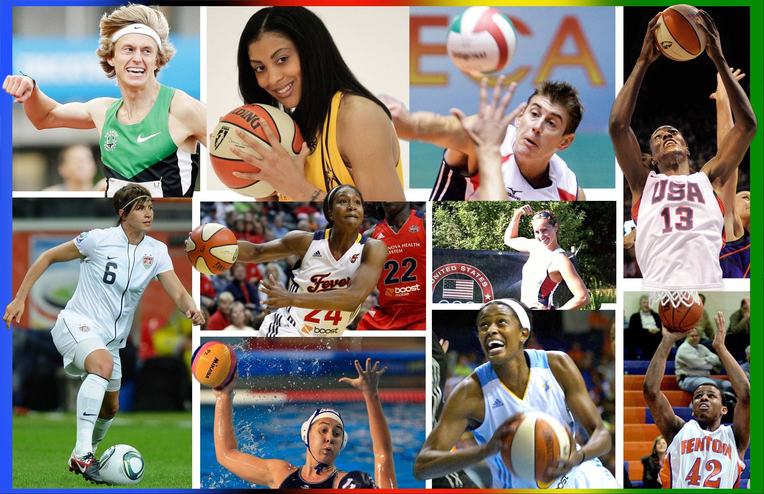 Among the Olympians competing in the 2012 Games in London with ties to the suburbs are (top left to right) Evan Jager in the 3000-meter steeplechase, Candace Parker in basketball, Sean Rooney in volleyball, and Sylvia Fowles in basketball; (middle left to right) Amy LePeilbet in soccer, Tamika Catchings in basketball, and Sarah Zelenka in rowing; (bottom left to right), Melissa Seidemann in water polo, Swin Cash in basketball, and Richard Oruche in basketball. Oruche is on team Nigeria, while the others represent team USA.