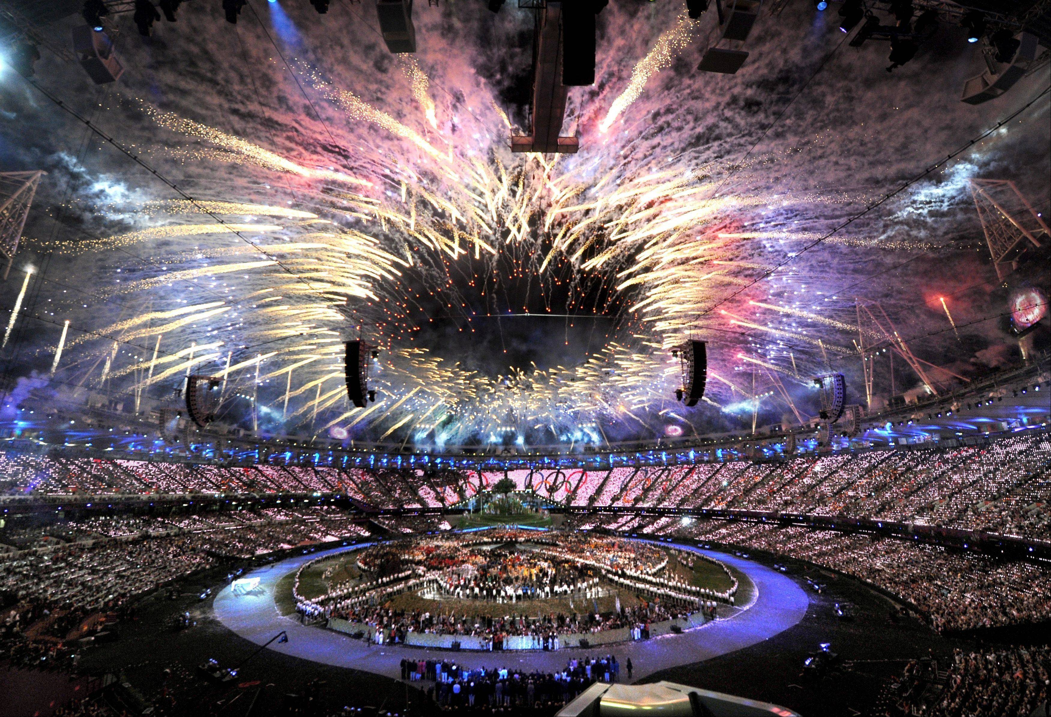 Fireworks light up the Olympic Stadium during the opening ceremony for the 2012 Summer Olympics.